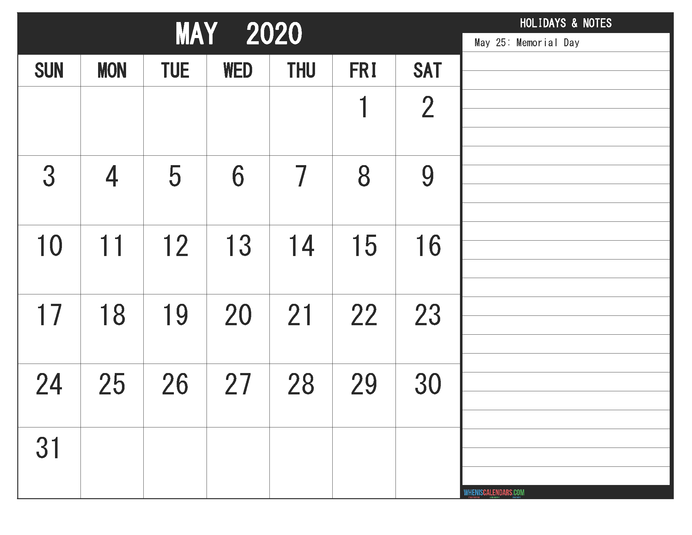Free Printable Monthly Calendar 2020 May with Holidays