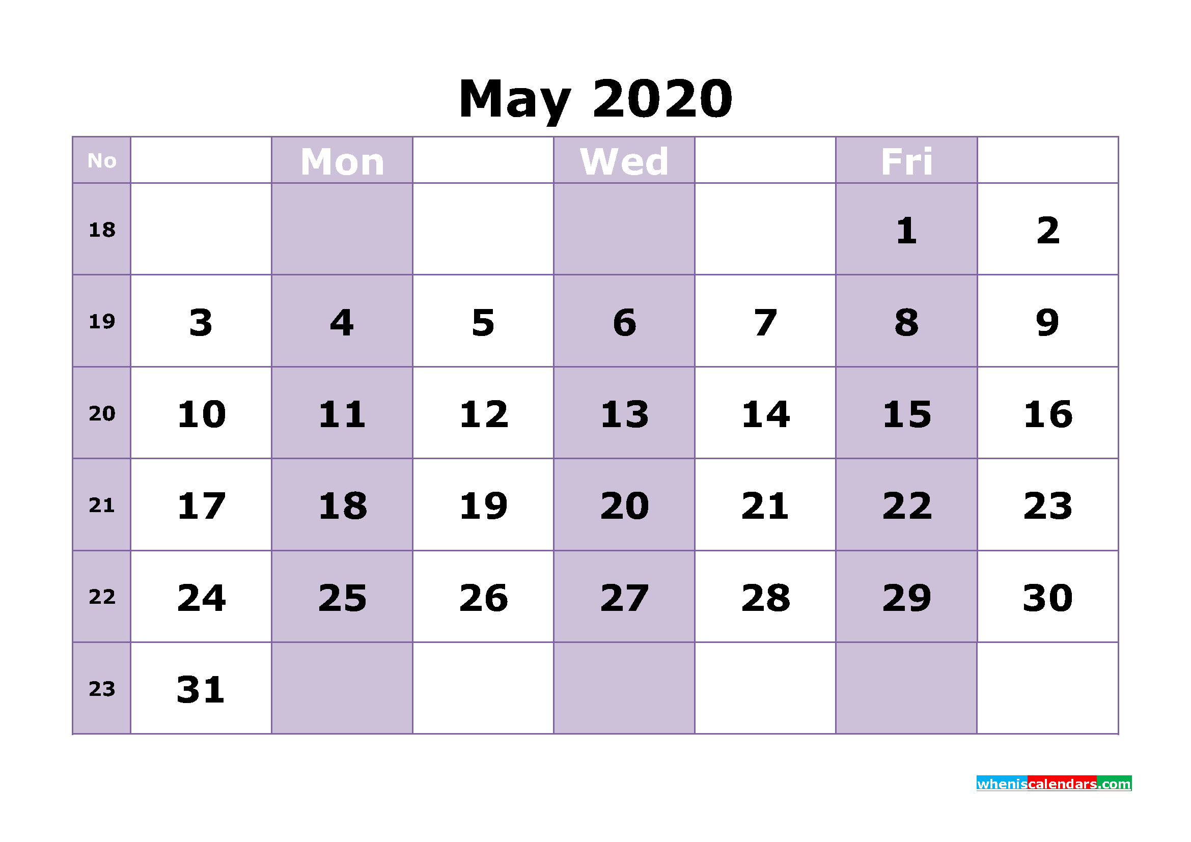 Free Printable May 2020 Calendar Template Word
