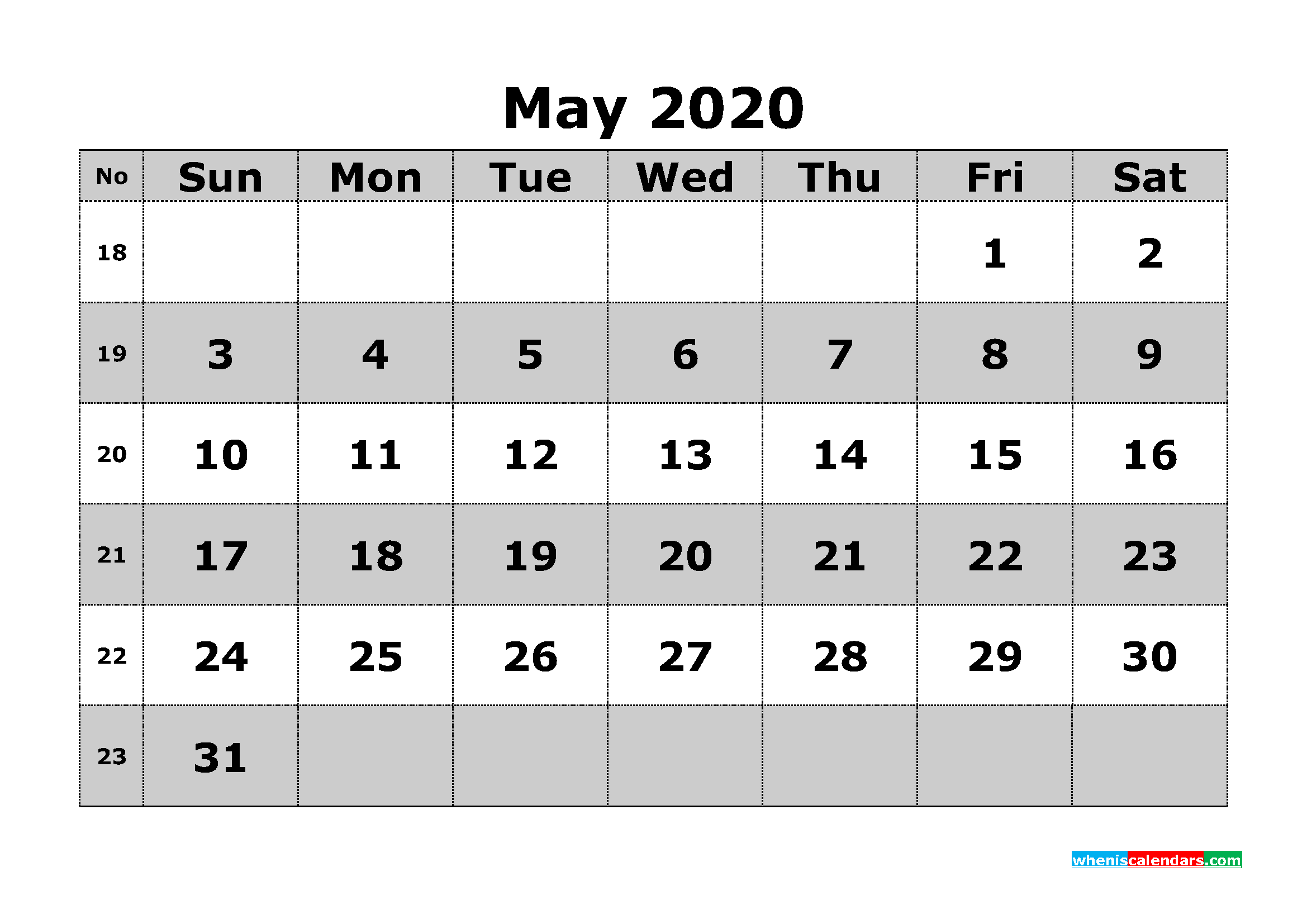 Printable May 2020 Calendar Template Word, PDF