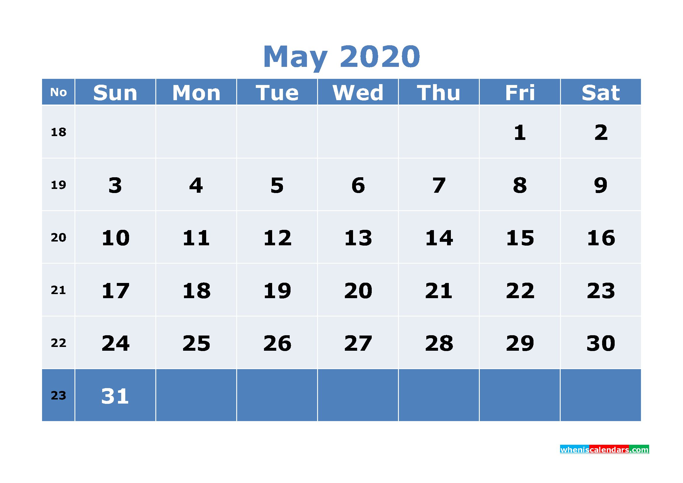 Free Printable May 2020 Calendar with Week Numbers