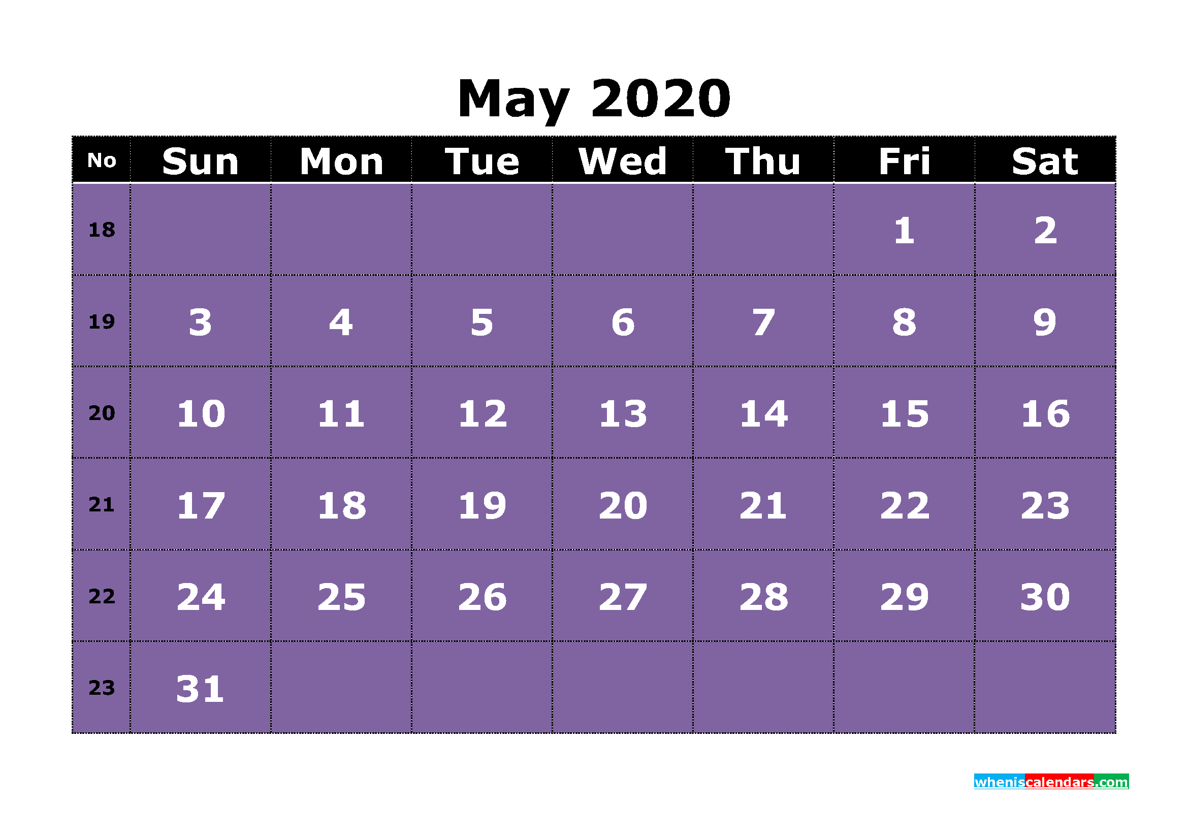 Free Printable May 2020 Calendar Word, PDF