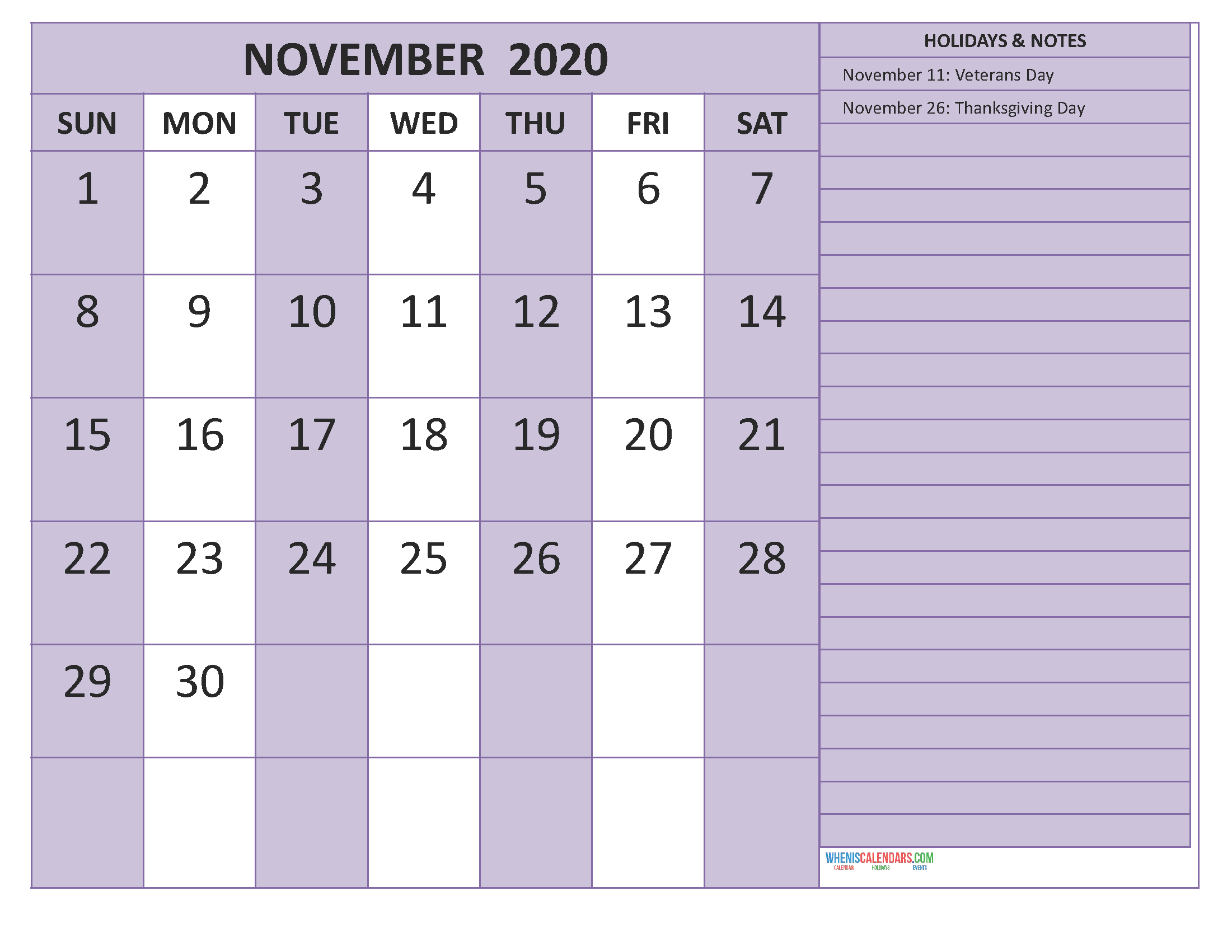 Free November 2020 Monthly Calendar Template Word