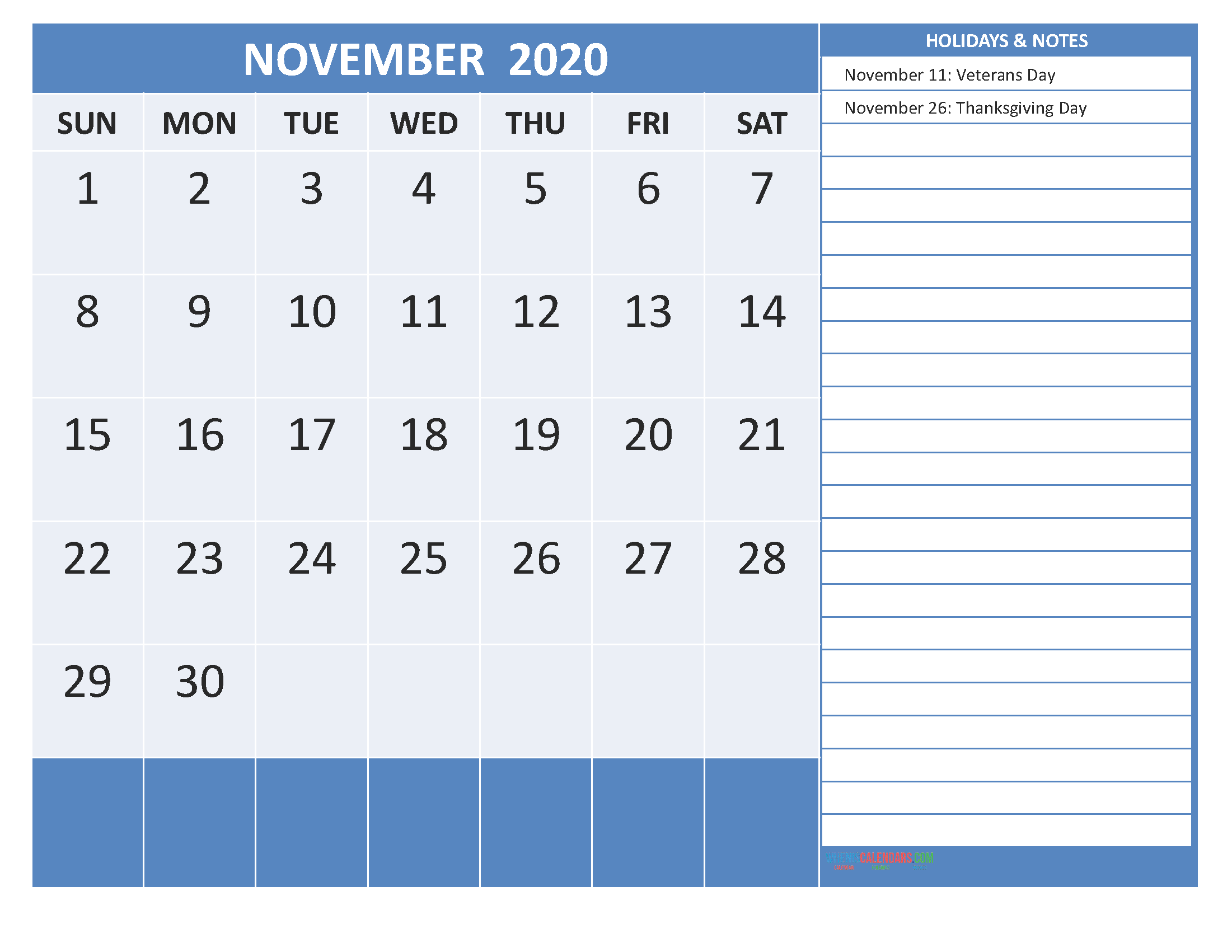 Free Printable 2020 Monthly Calendar with Holidays November