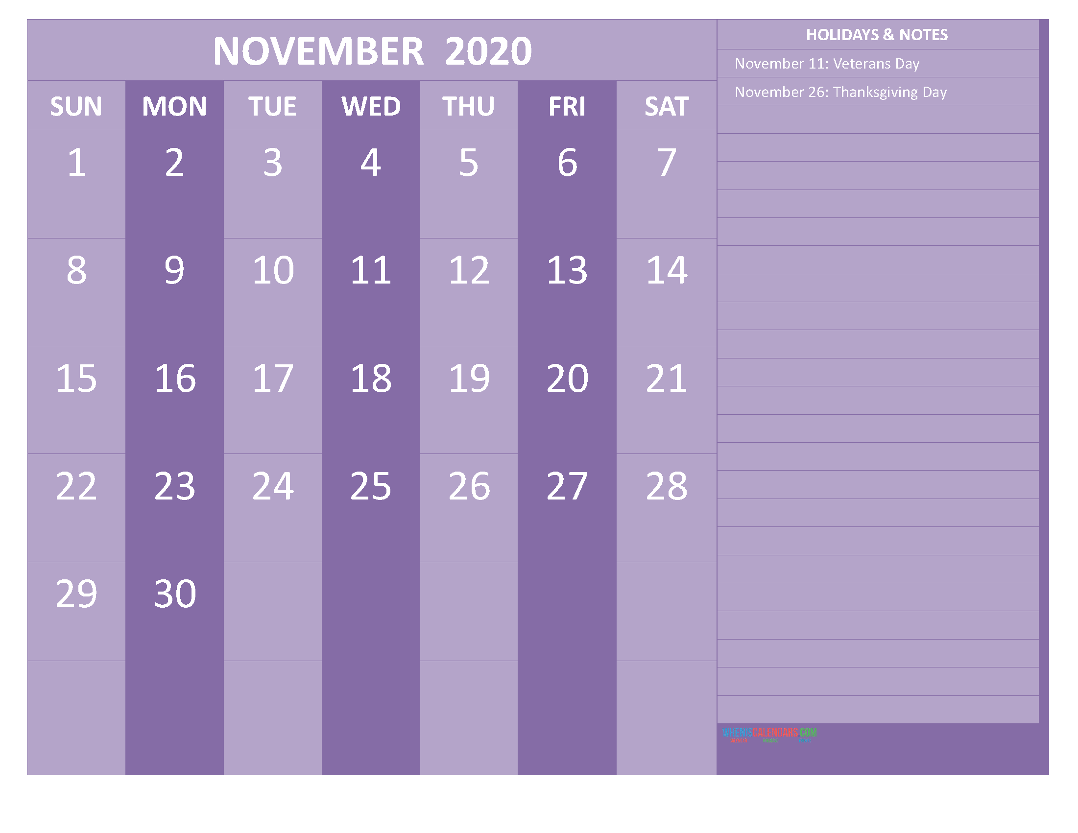 Printable November 2020 Calendar with Holidays Word