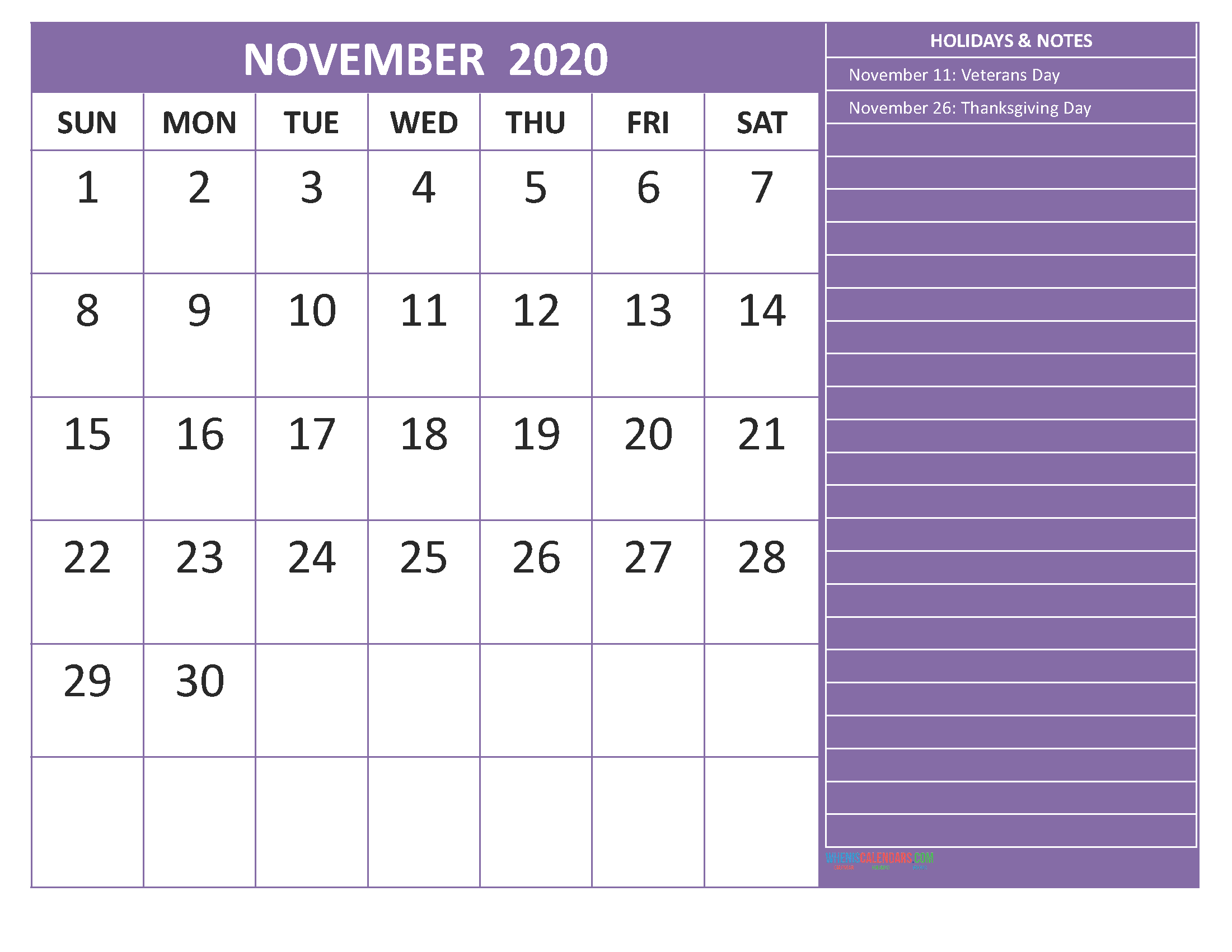 Free Printable Monthly 2020 Calendar with Holidays November