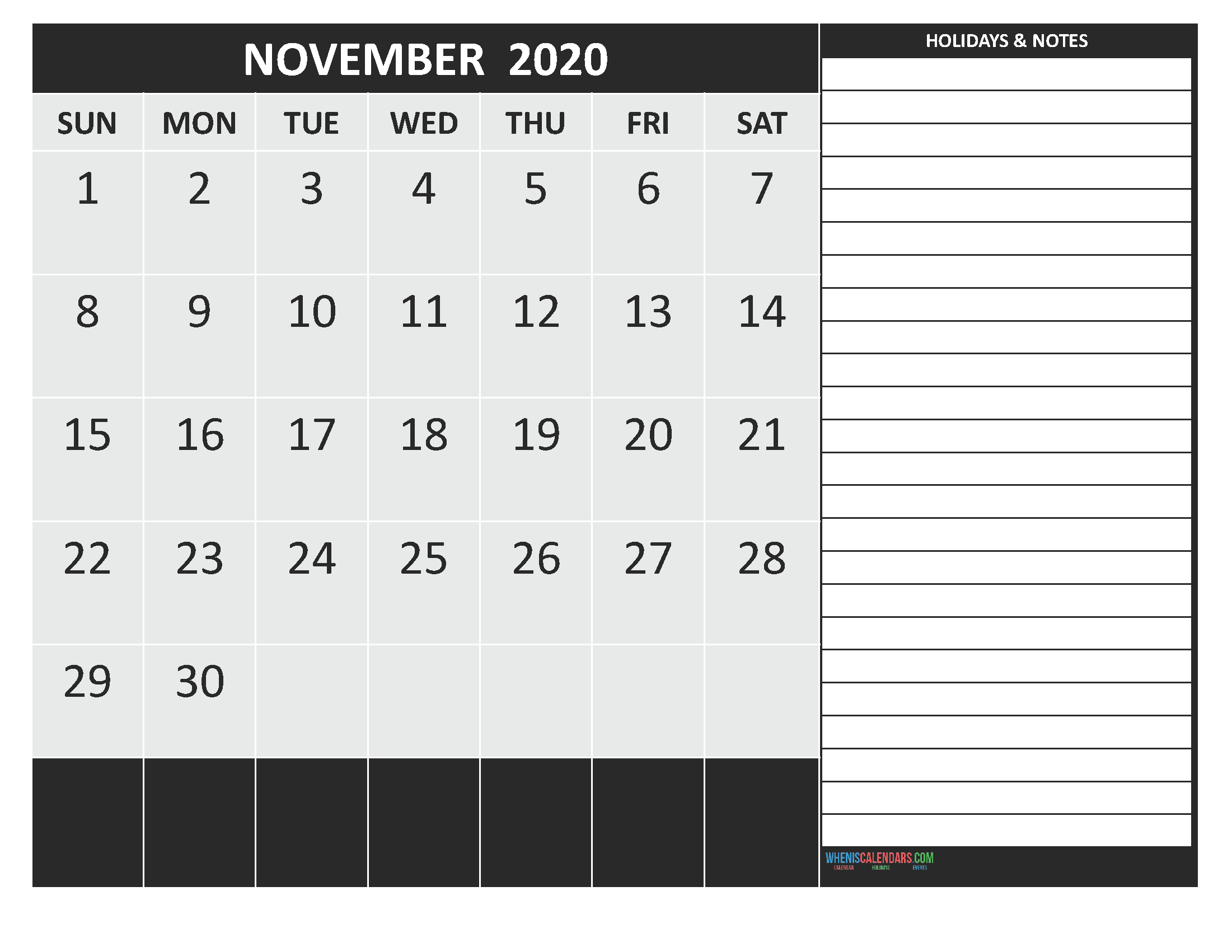 November 2020 Calendar with Holidays Free Printable
