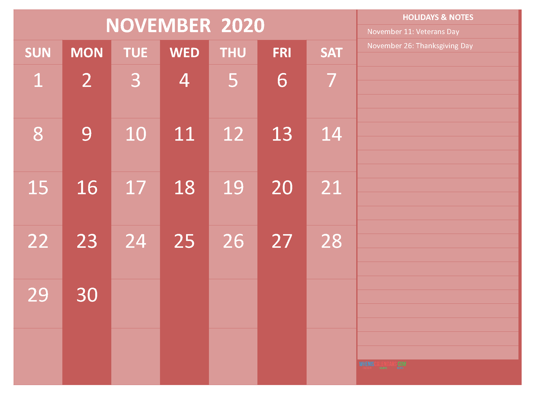 Free Printable Monthly Calendar 2020 November with Holidays