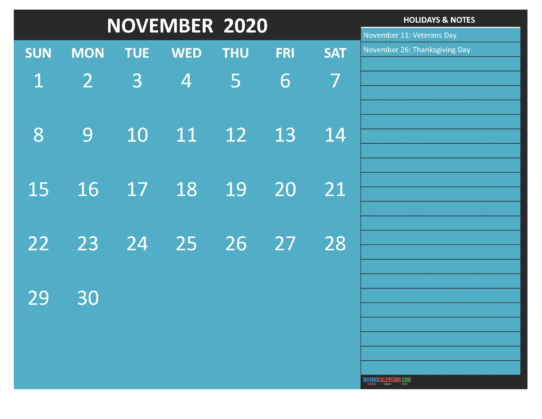 November 2020 Calendar with Holidays Word, PDF