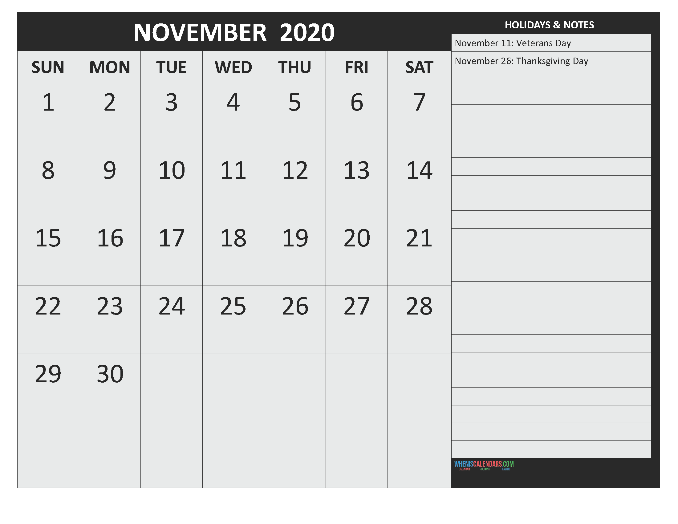 November 2020 Calendar with Holidays Free Printable by Word