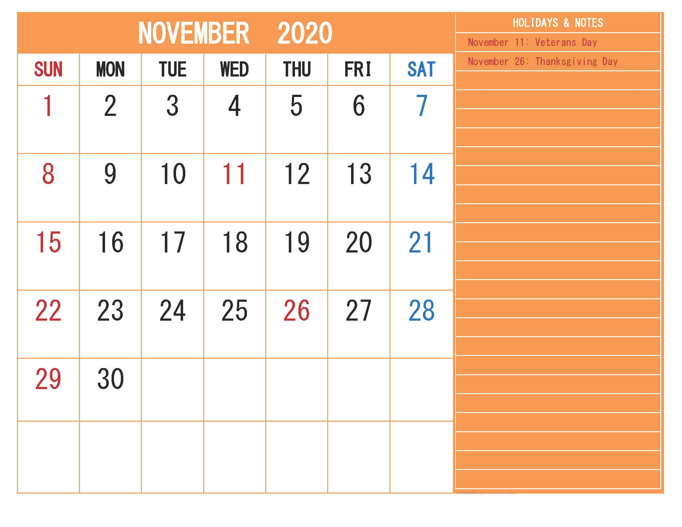 Free Monthly Printable Calendar 2020 November with Holidays