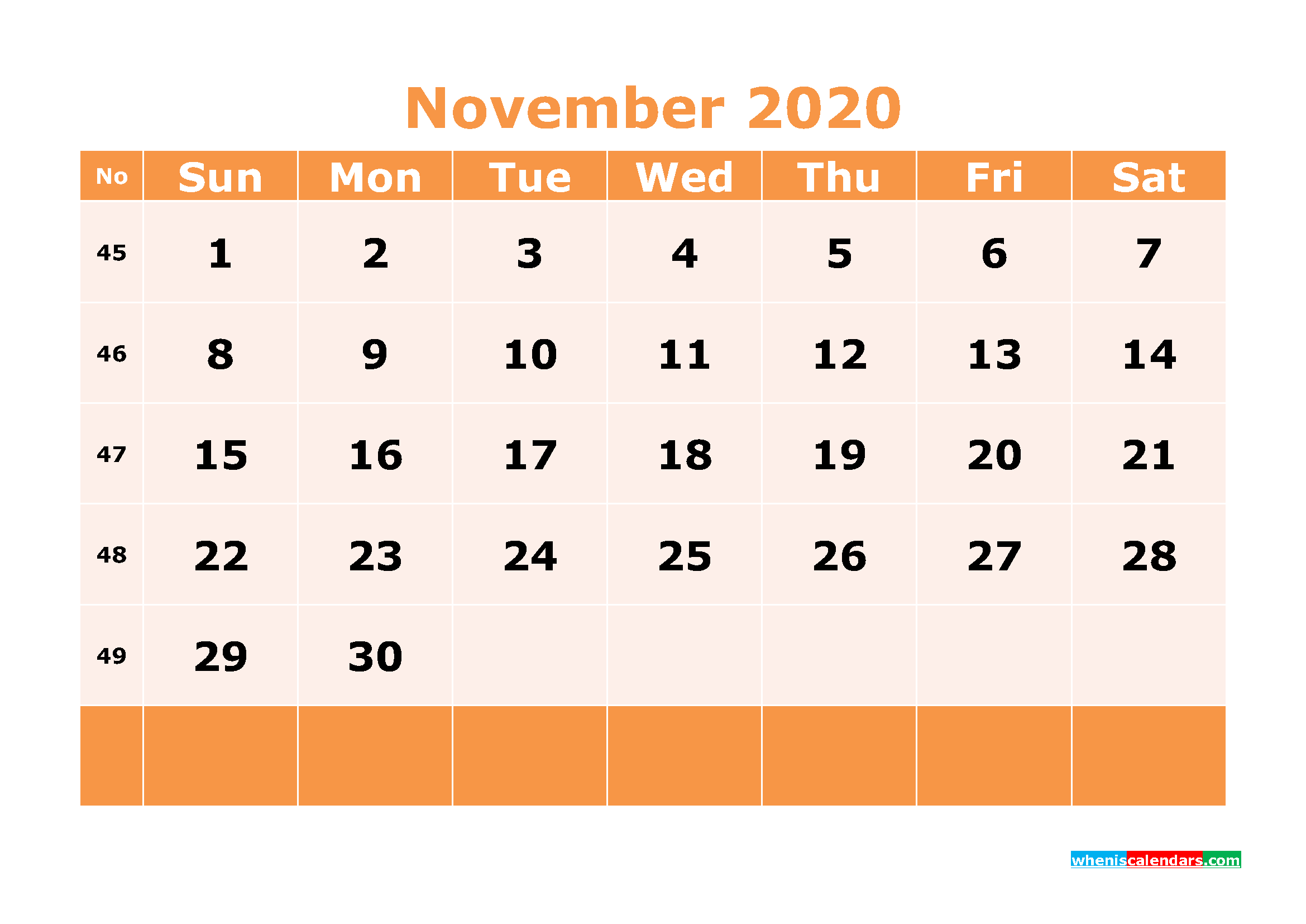 Printable November 2020 Calendar Template Word, PDF