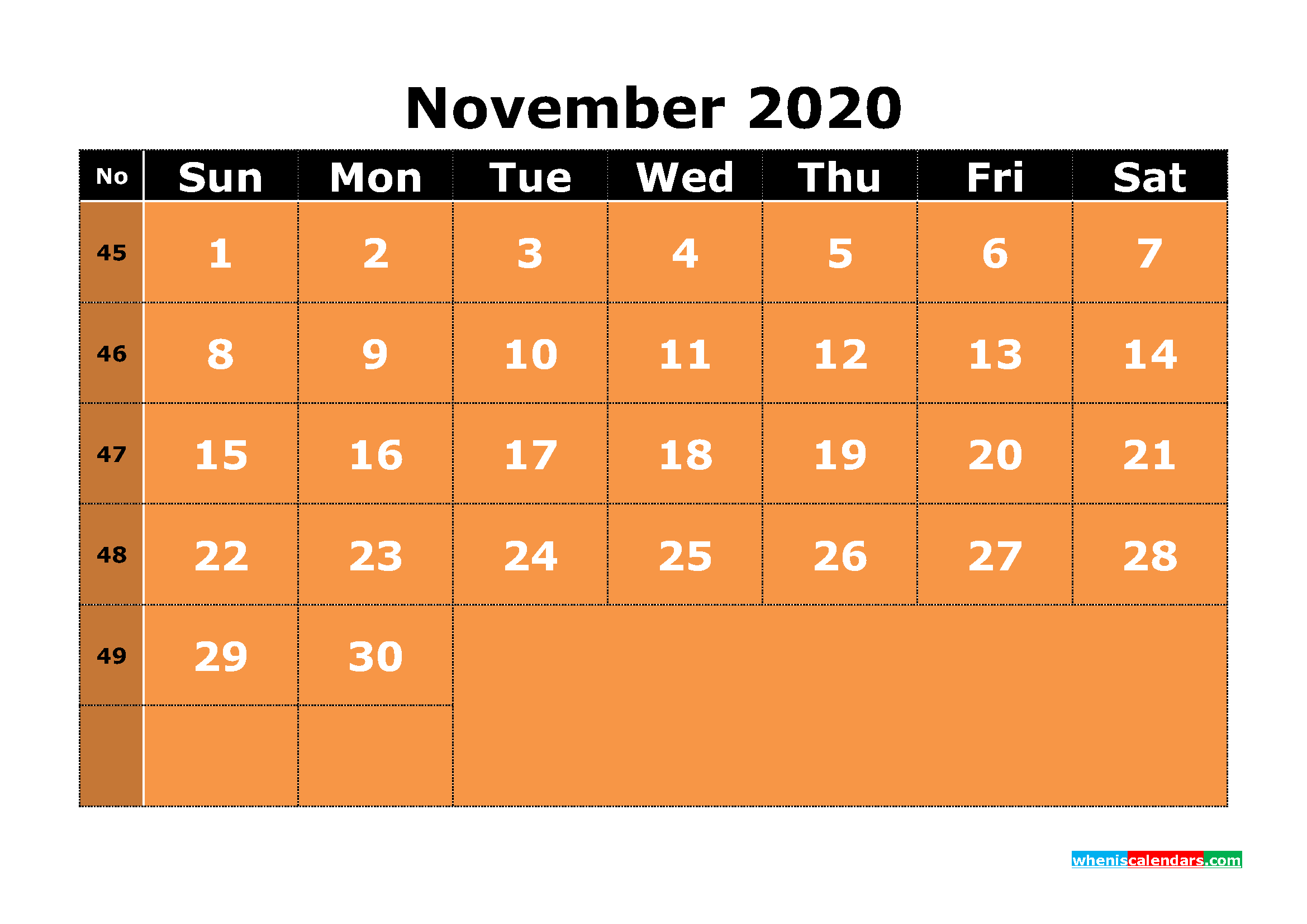 Free Printable November 2020 Calendar with Week Numbers