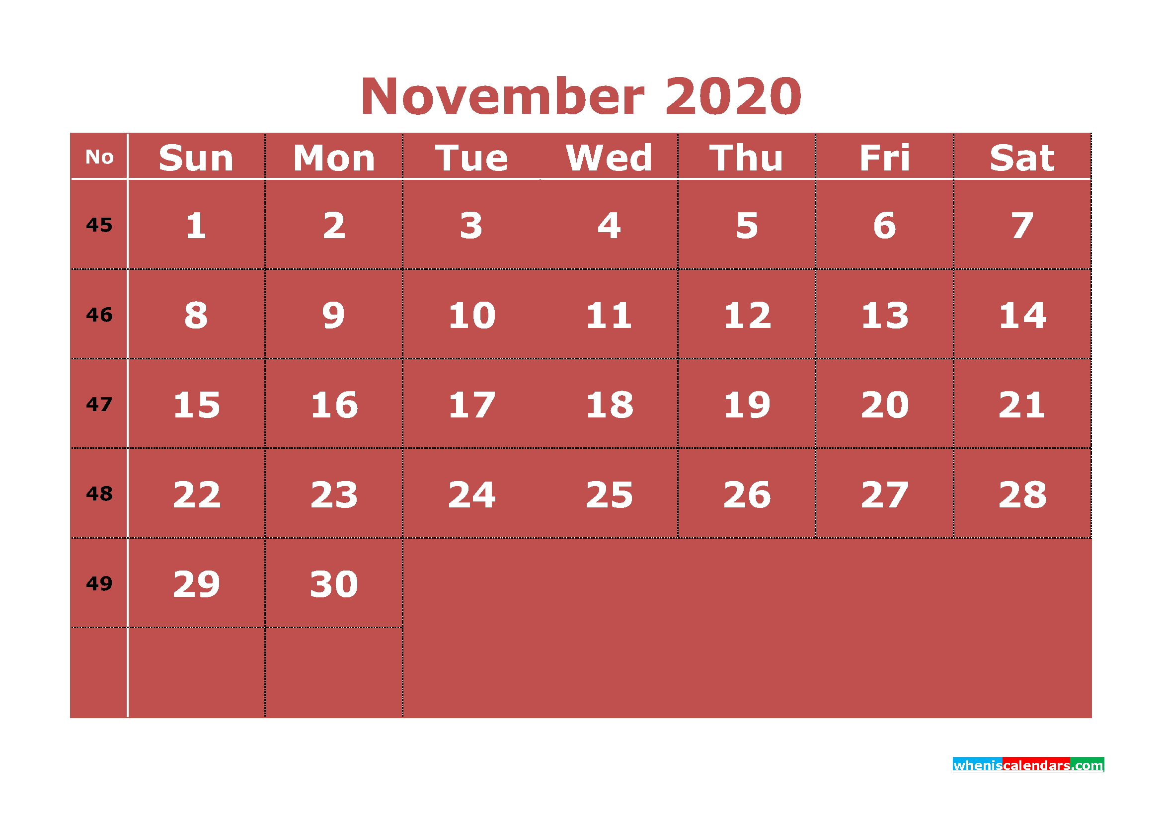 Printable November 2020 Calendar with Week Numbers