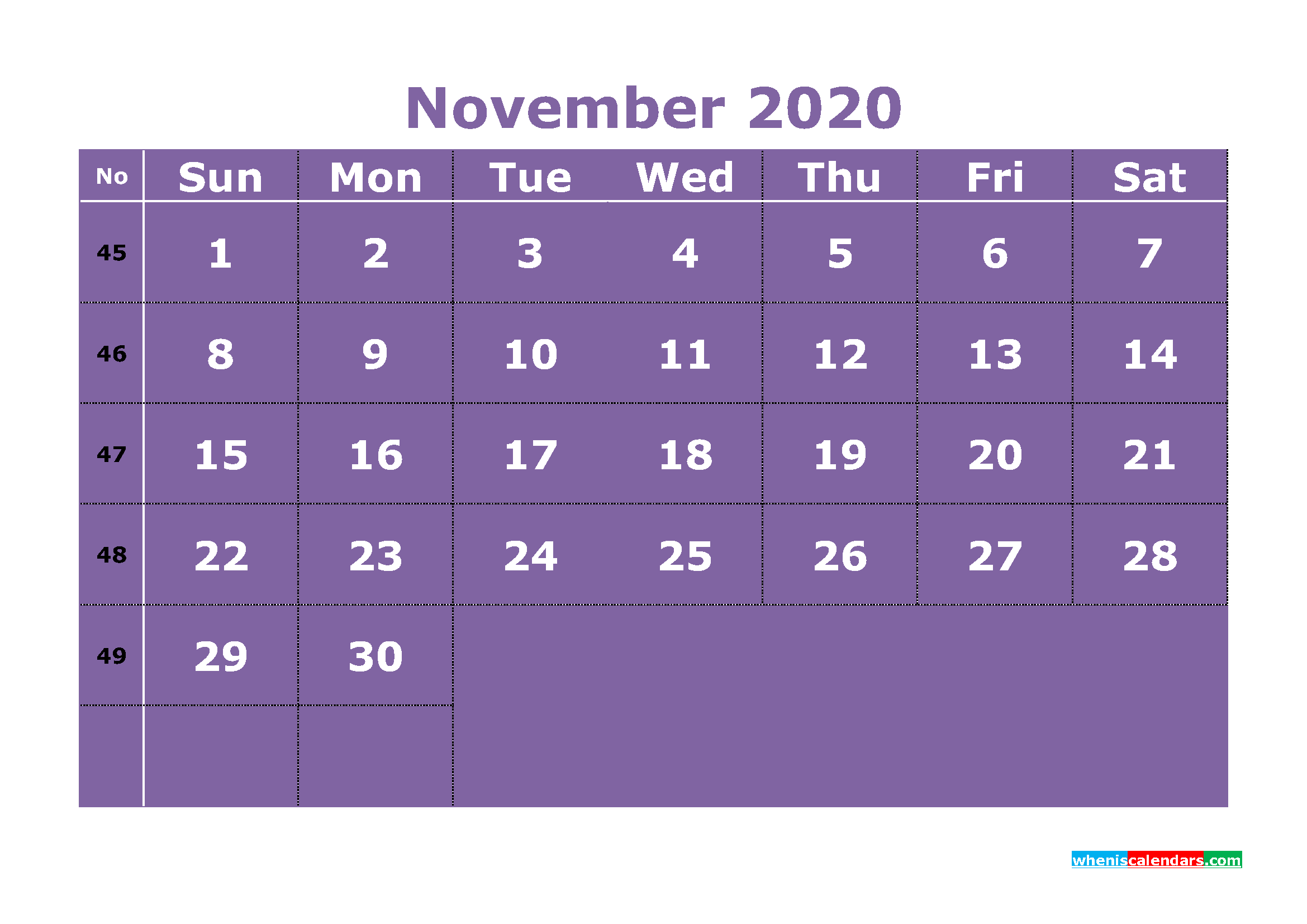 Free Printable November 2020 Calendar Template Word