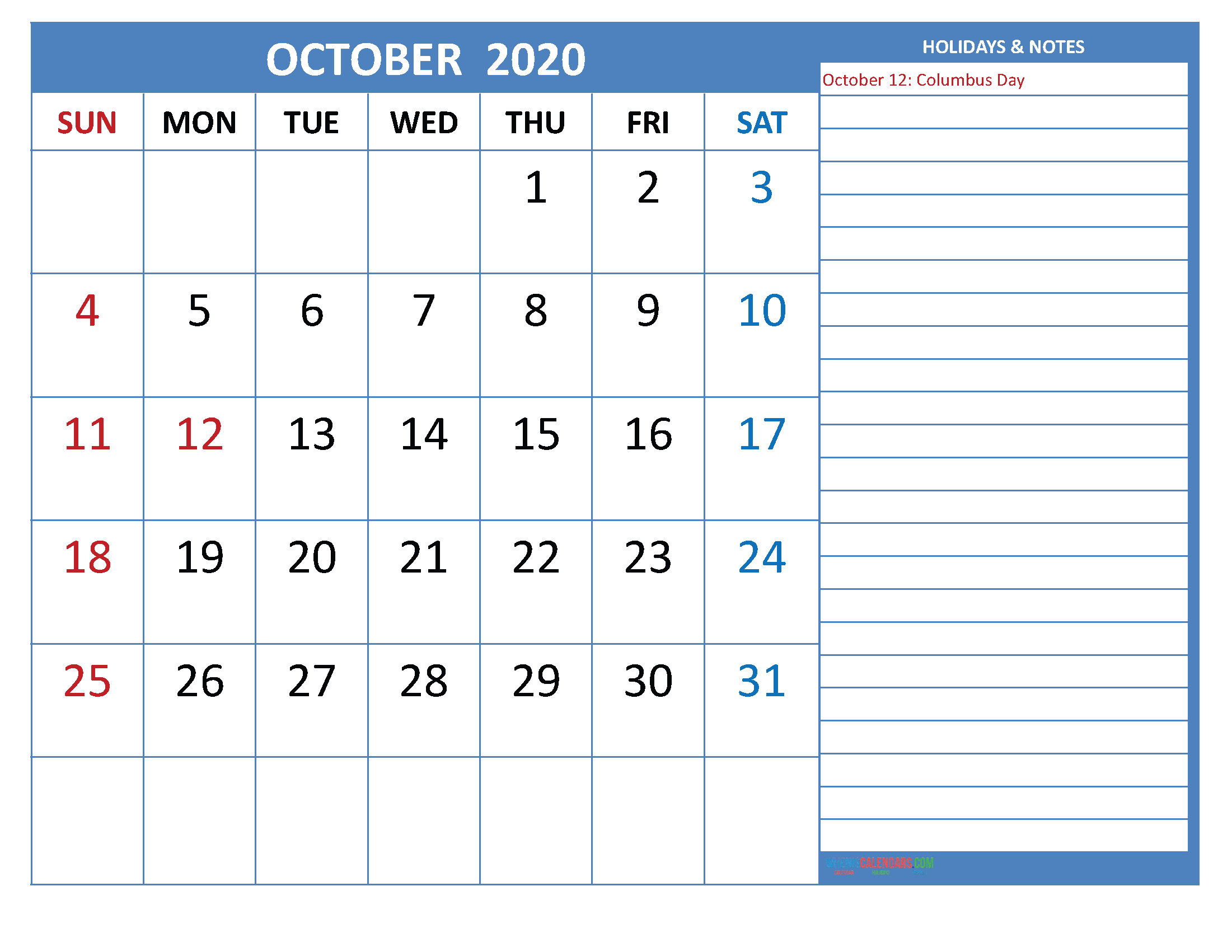 Free Printable Monthly 2020 Calendar with Holidays October