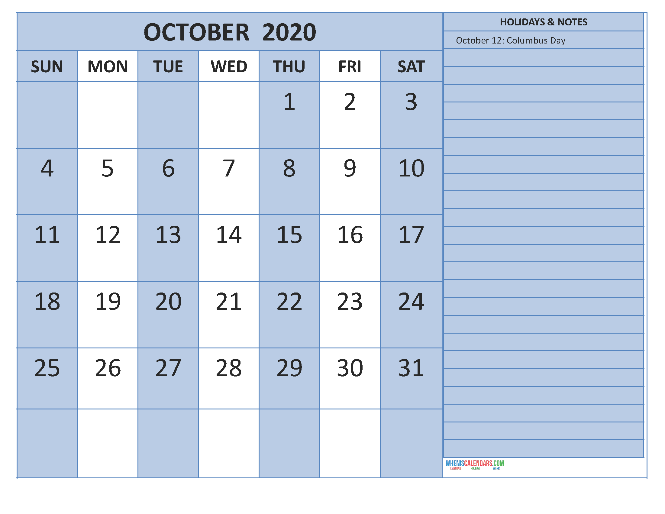 Free Printable 2020 Monthly Calendar with Holidays October