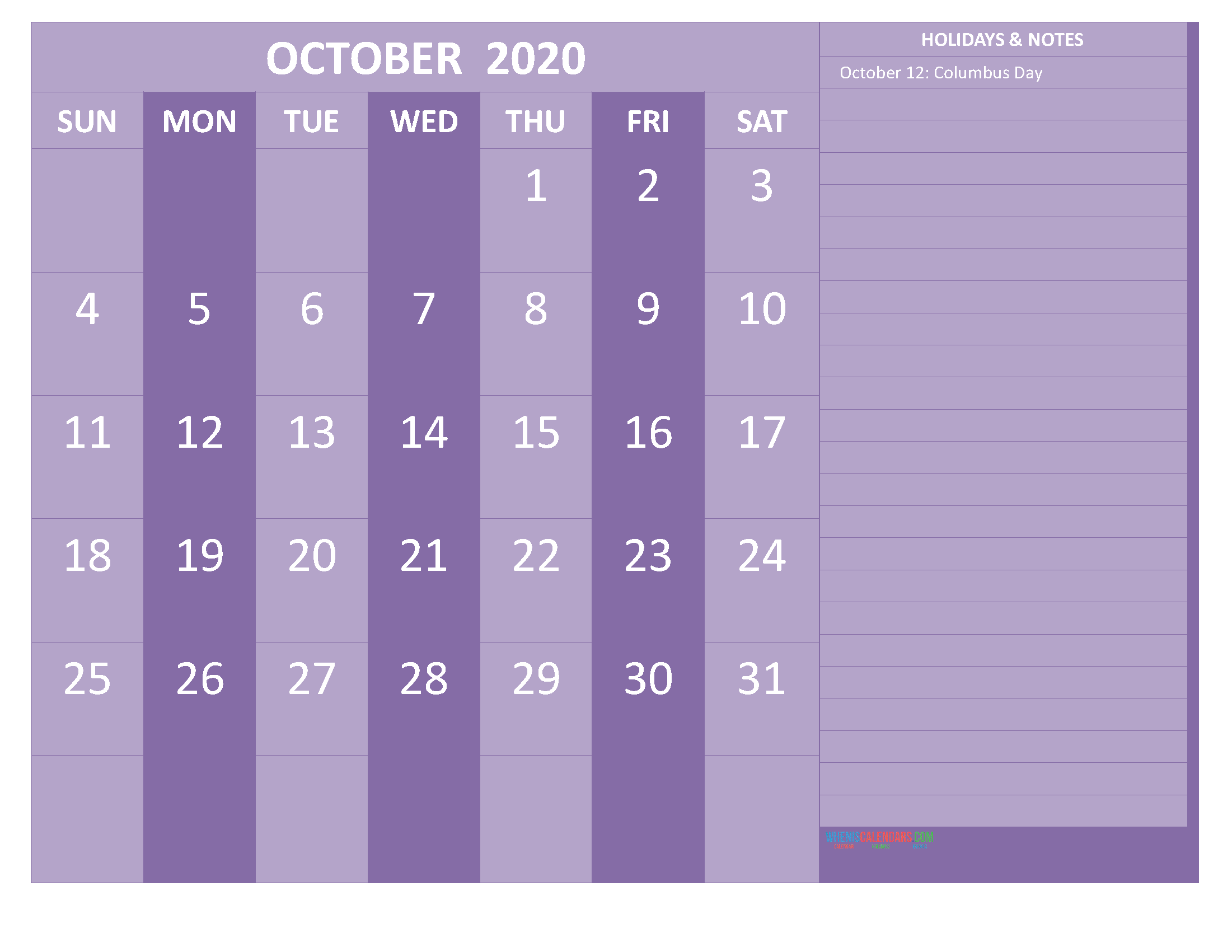 Free Monthly Printable Calendar 2020 October with Holidays