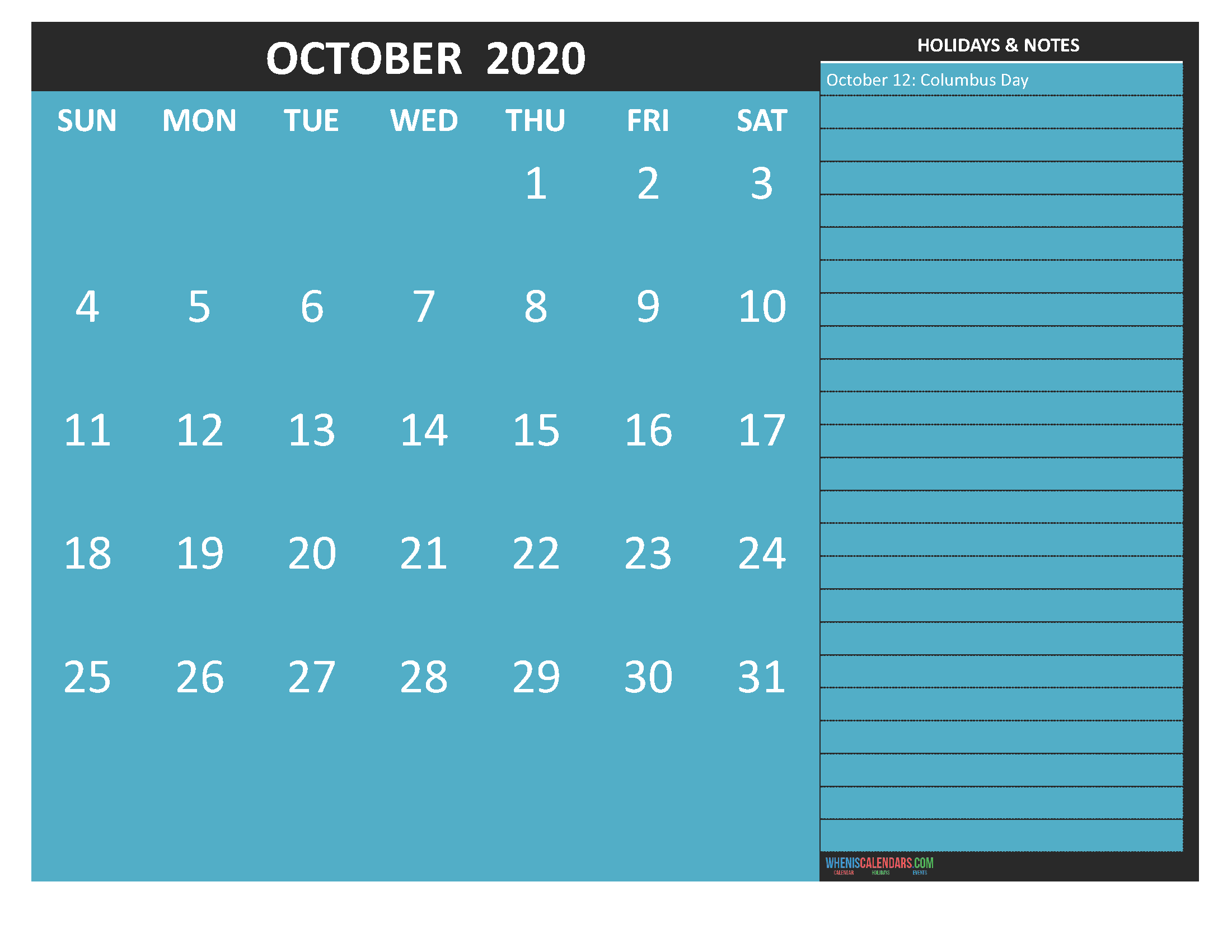 October 2020 Calendar with Holidays Word, PDF