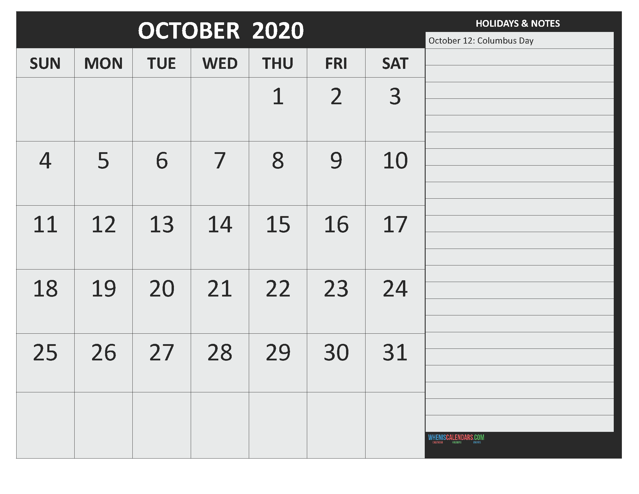 Free October 2020 Monthly Calendar Template Word