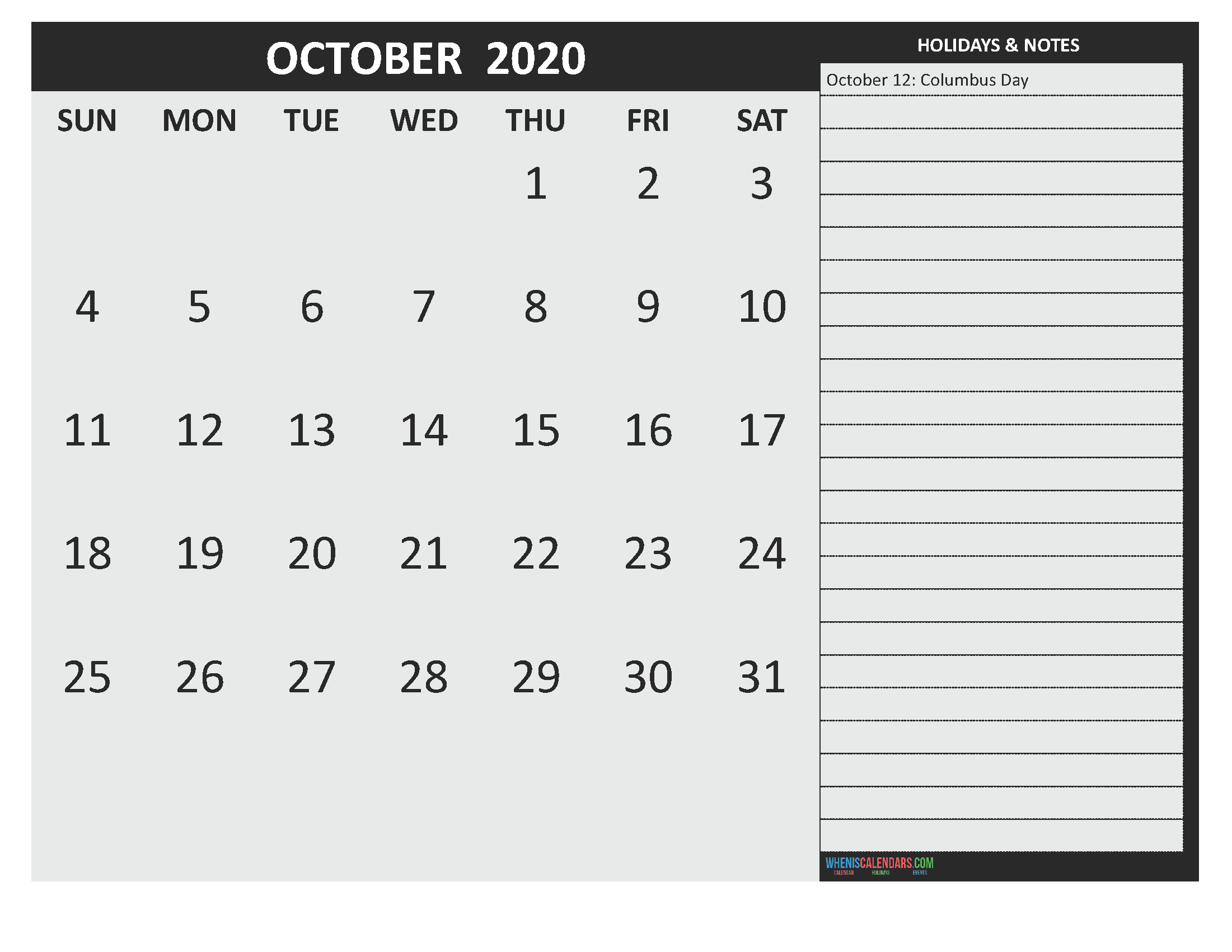 Free Printable Monthly Calendar 2020 October with Holidays