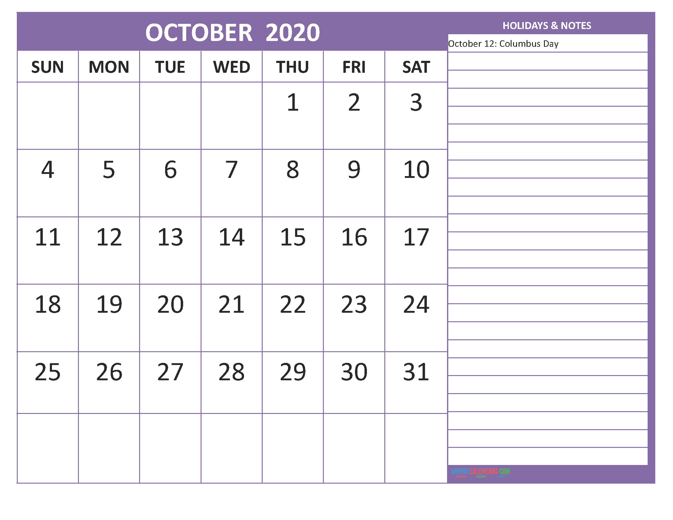 October 2020 Calendar with Holidays Free Printable by Word