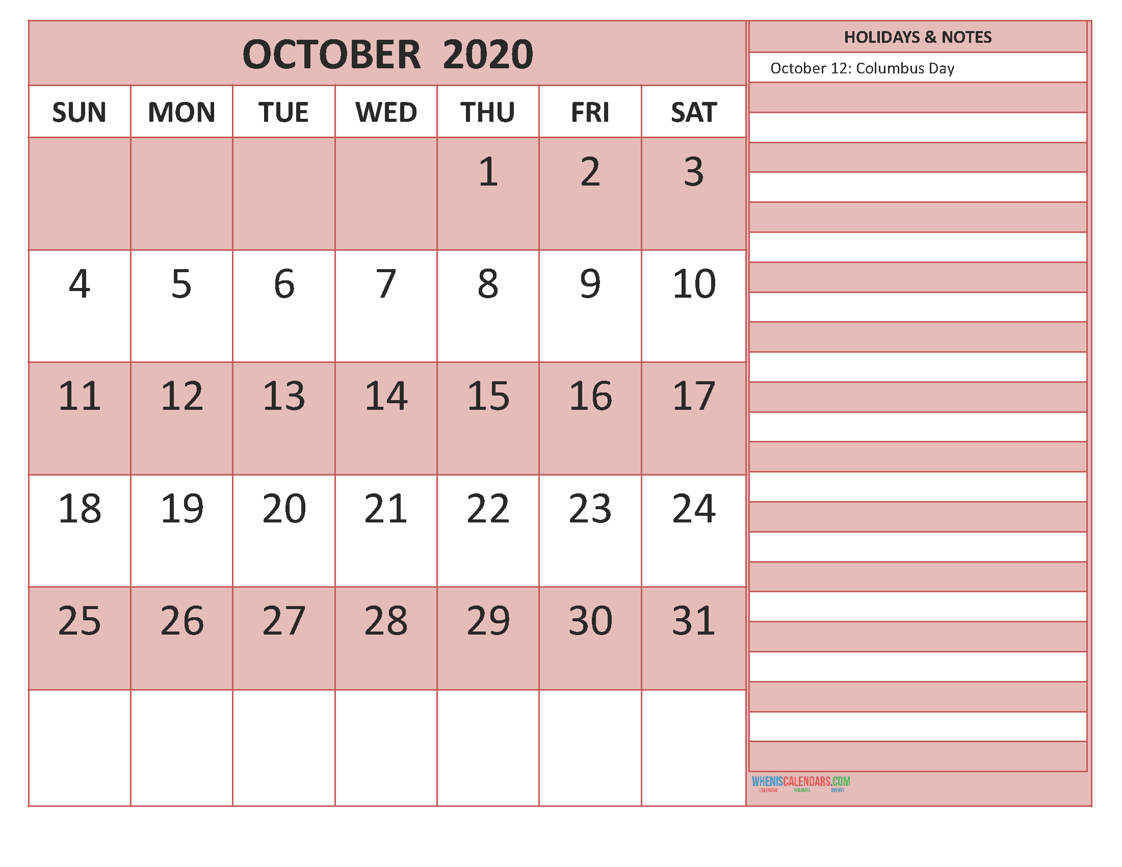 October 2020 Calendar with Holidays Free Printable