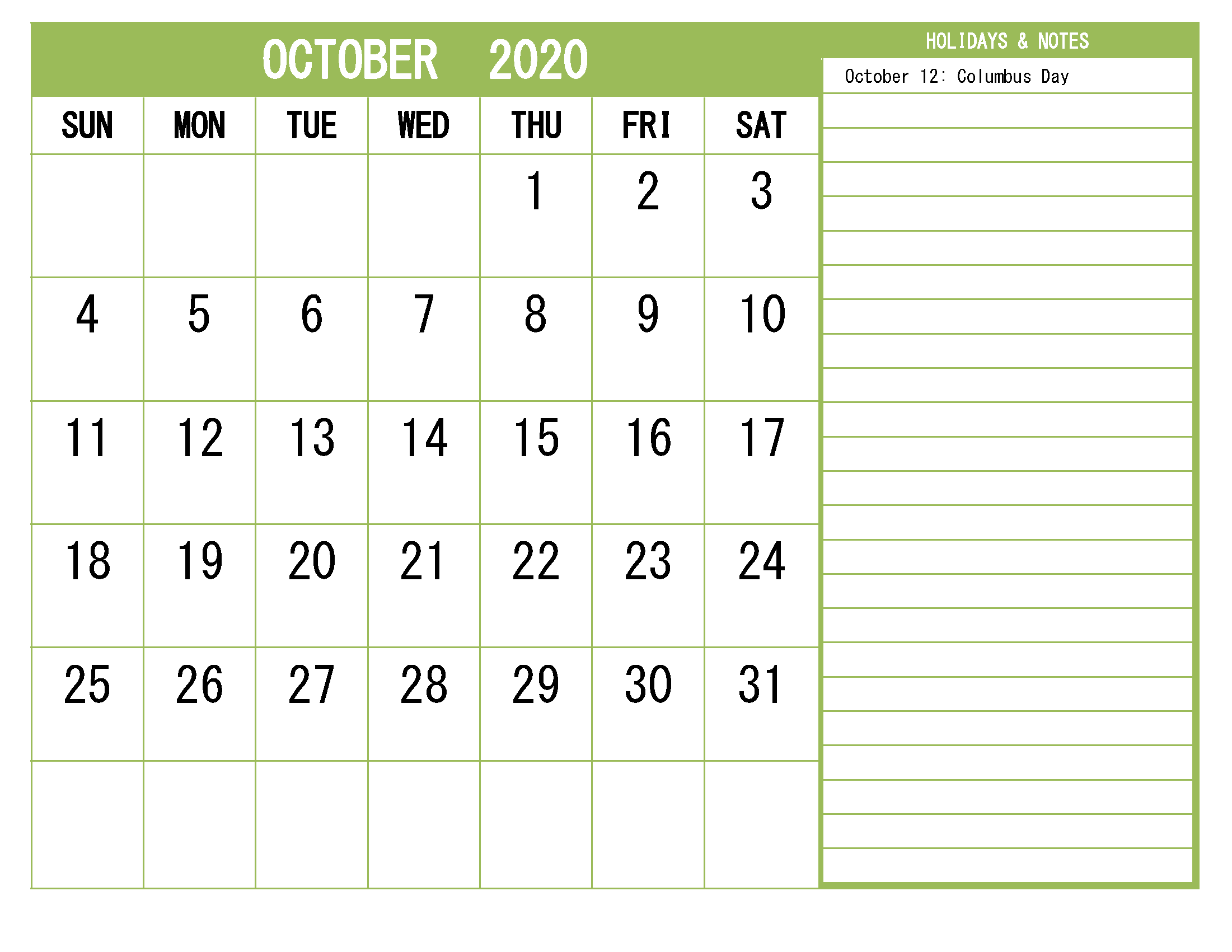 Printable October 2020 Calendar with Holidays Word