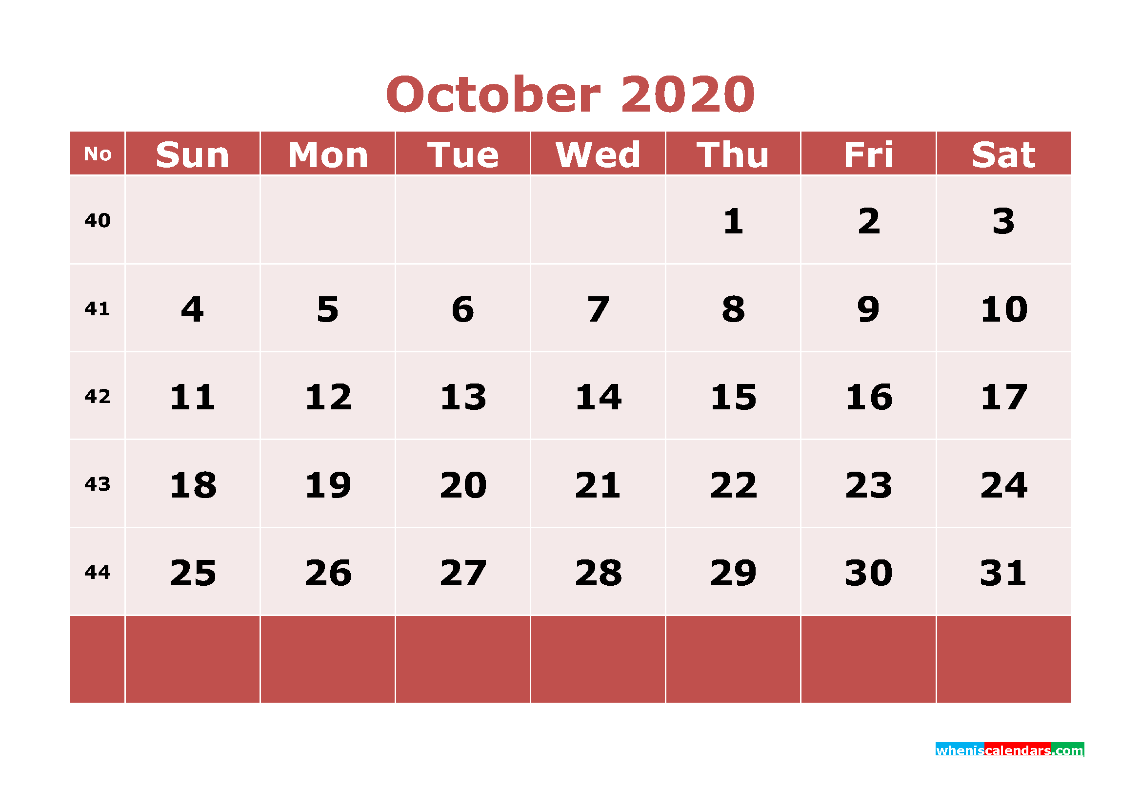 Free Printable October 2020 Calendar Word, PDF