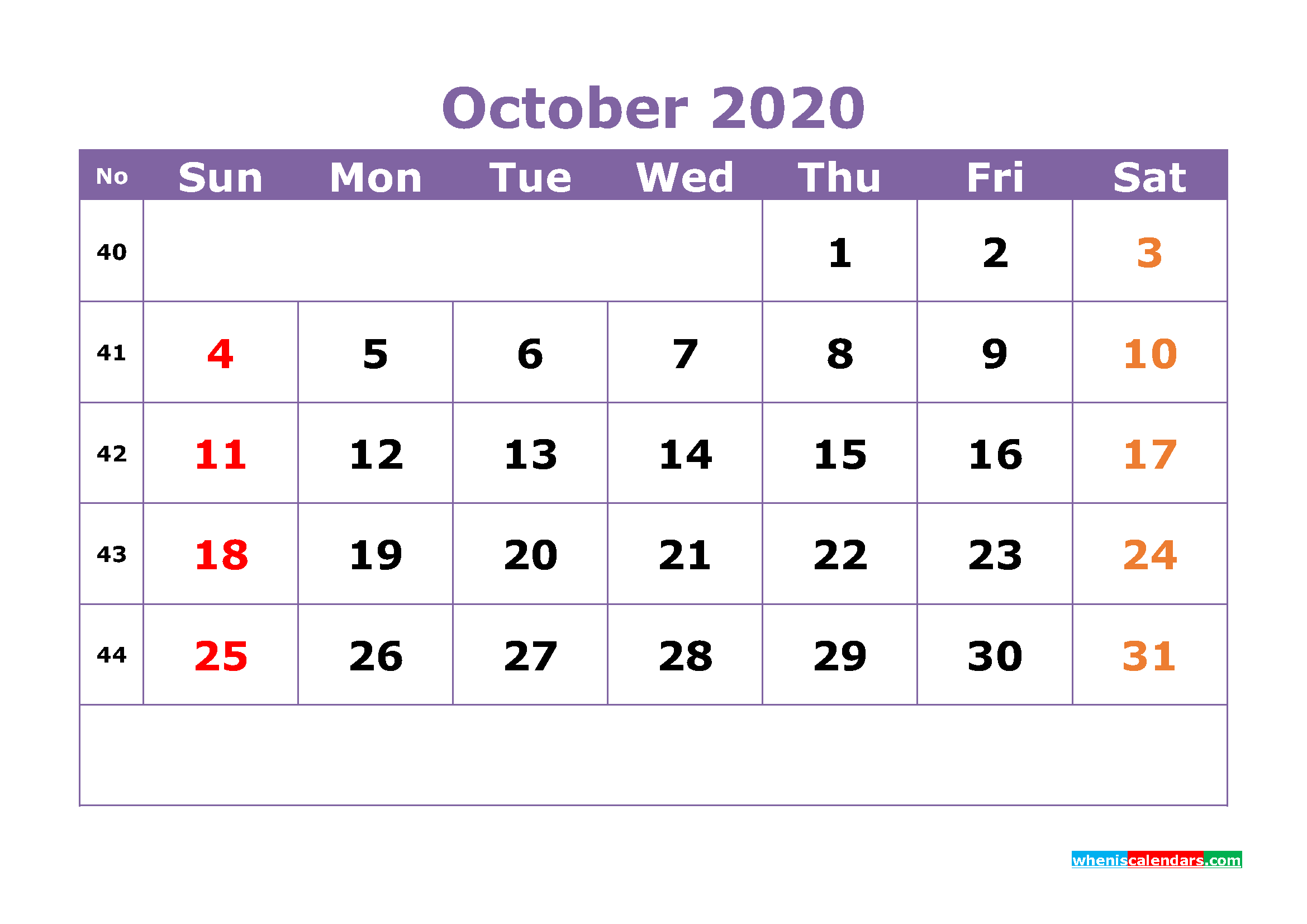 Free Printable October 2020 Calendar Templates
