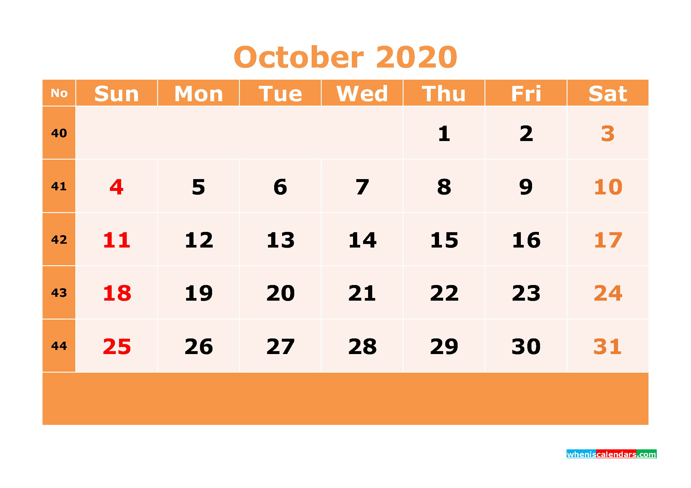 Printable October 2020 Calendar Template Word, PDF