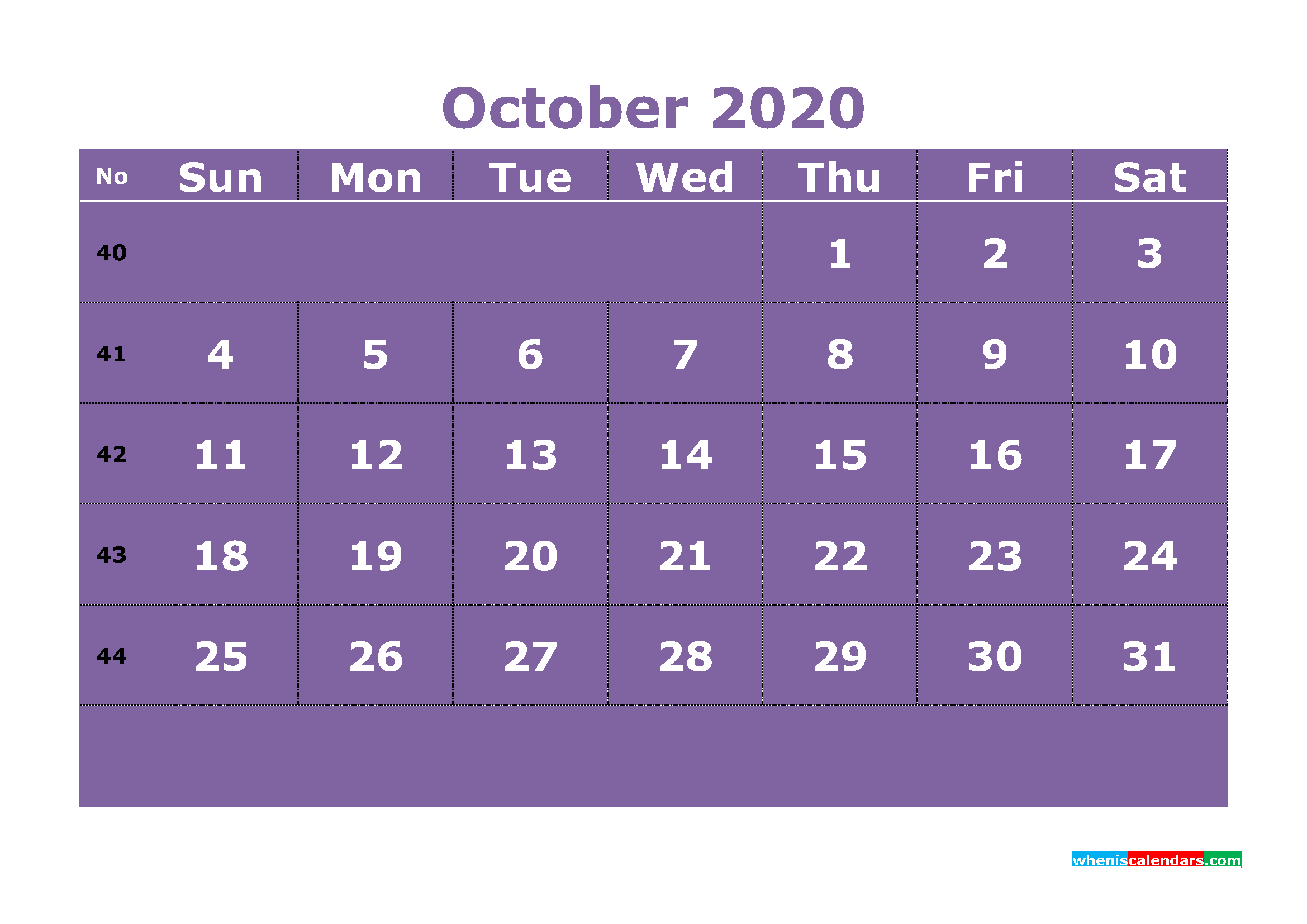 Free Printable October 2020 Calendar Template Word