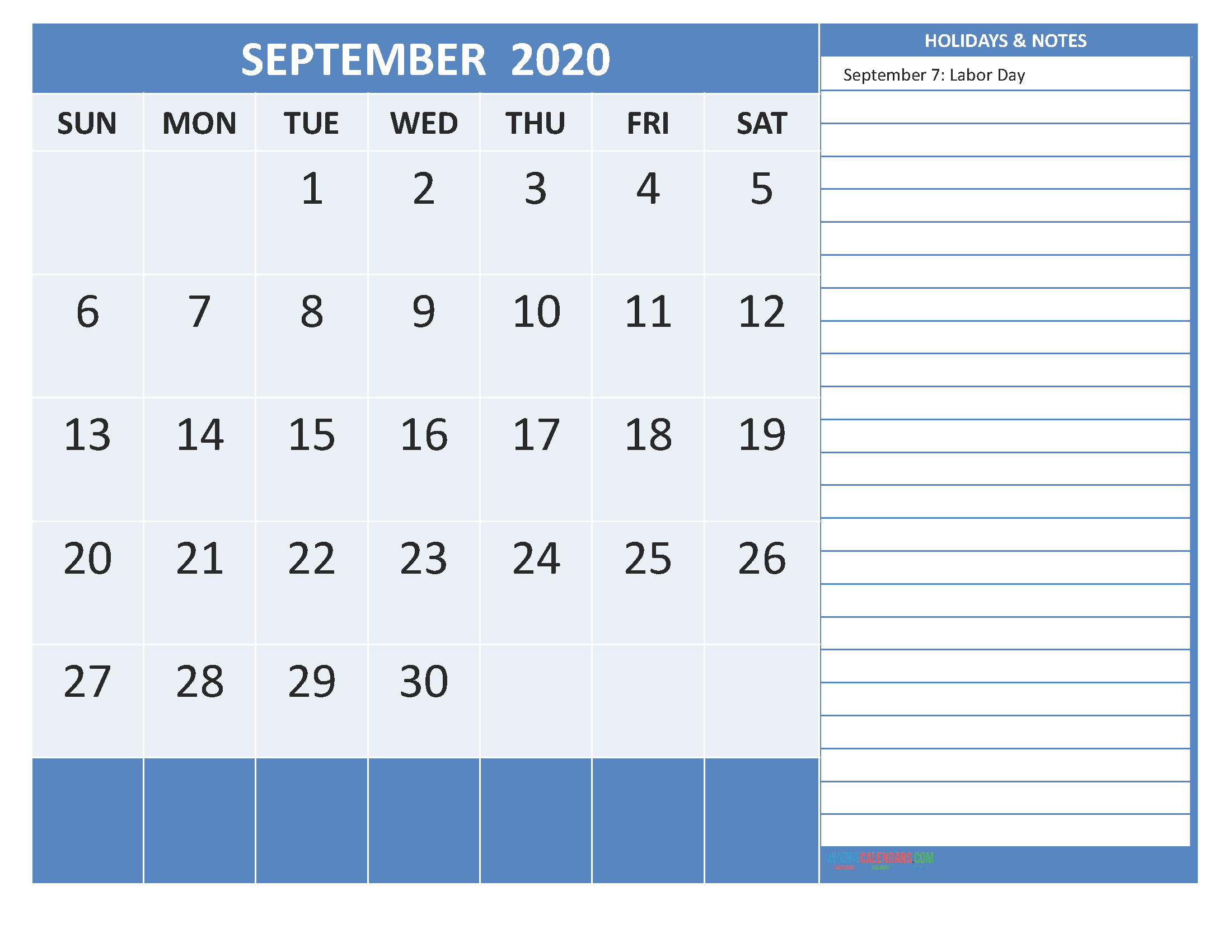 Free Printable 2020 Monthly Calendar with Holidays September