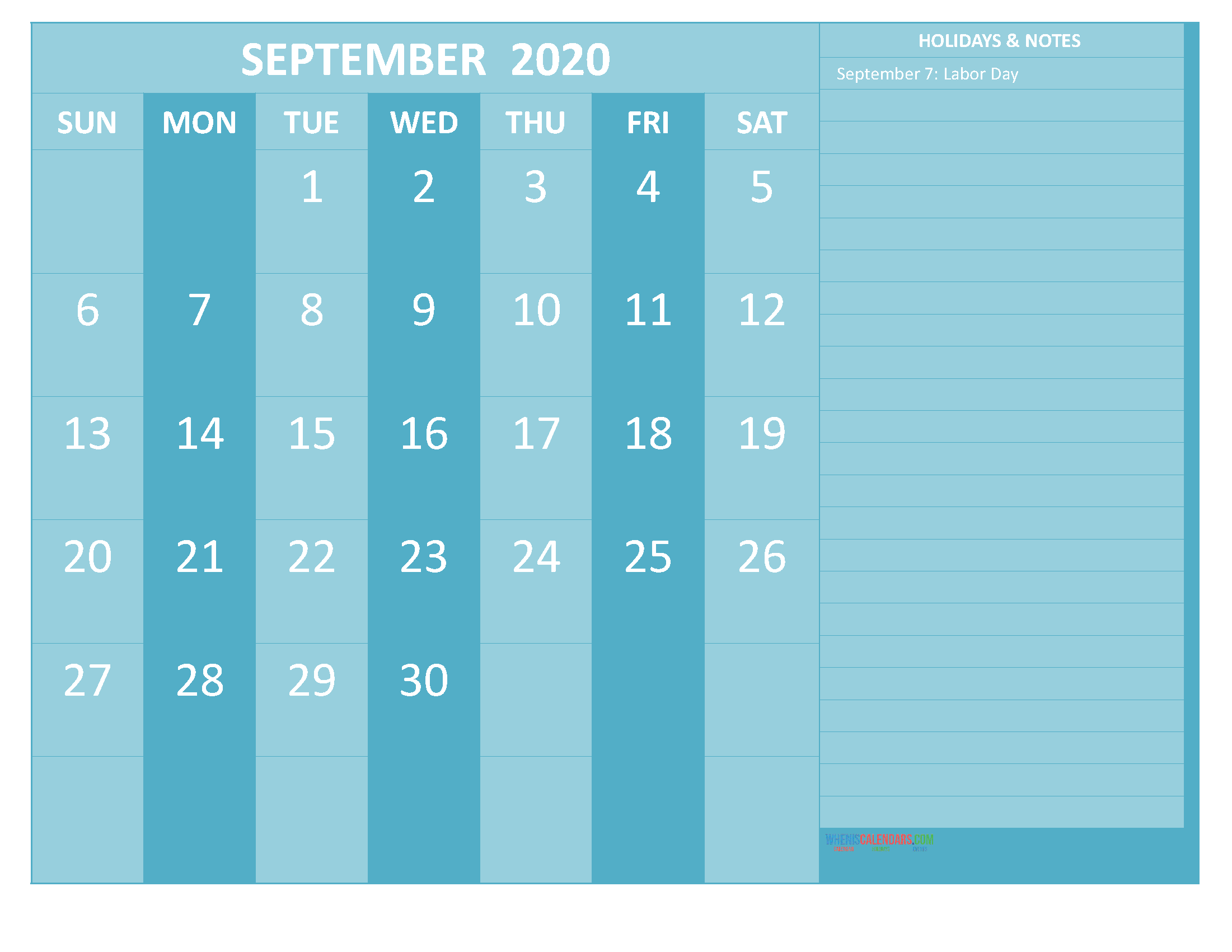 September 2020 Calendar with Holidays Free Printable