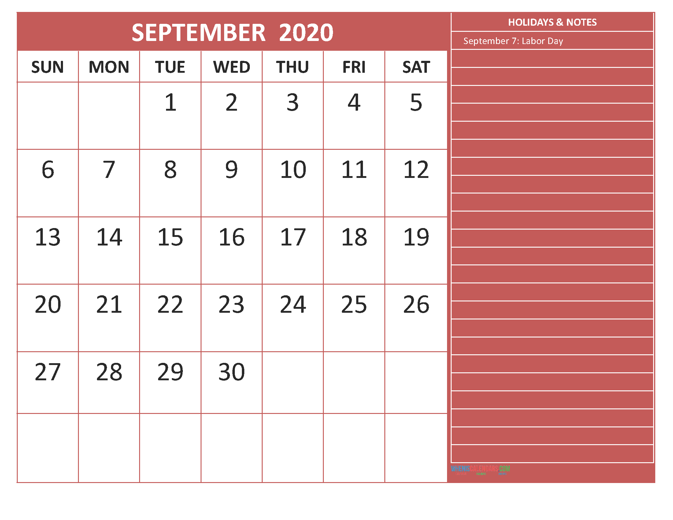 Printable September 2020 Calendar with Holidays Word