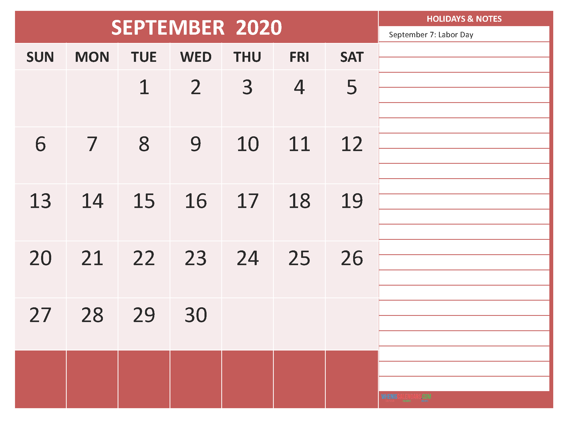 Free Printable Monthly Calendar 2020 September with Holidays