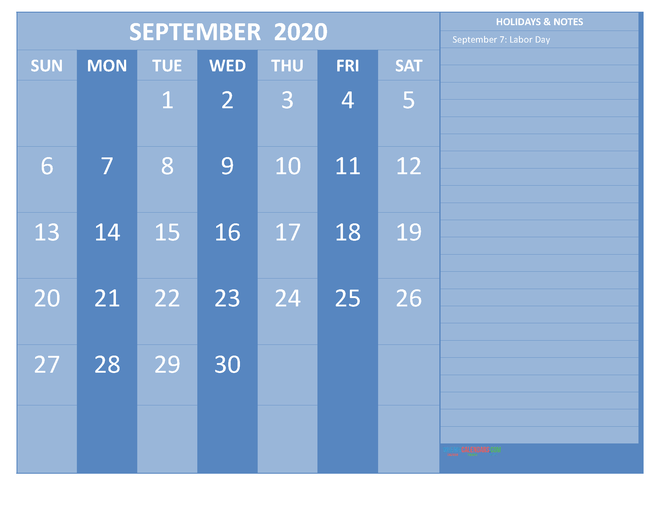 September 2020 Calendar with Holidays Free Printable by Word