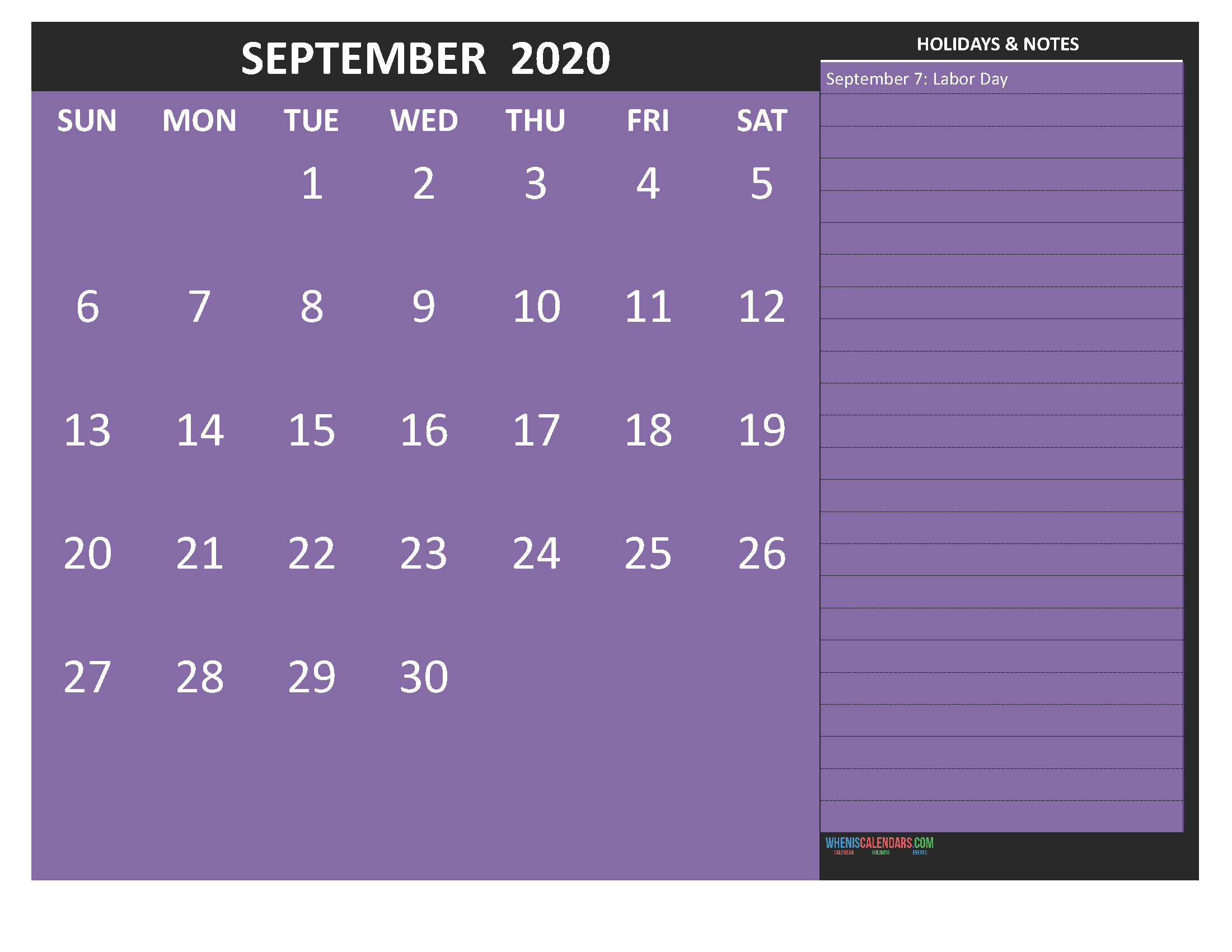 Free Printable September 2020 Calendar with Holidays