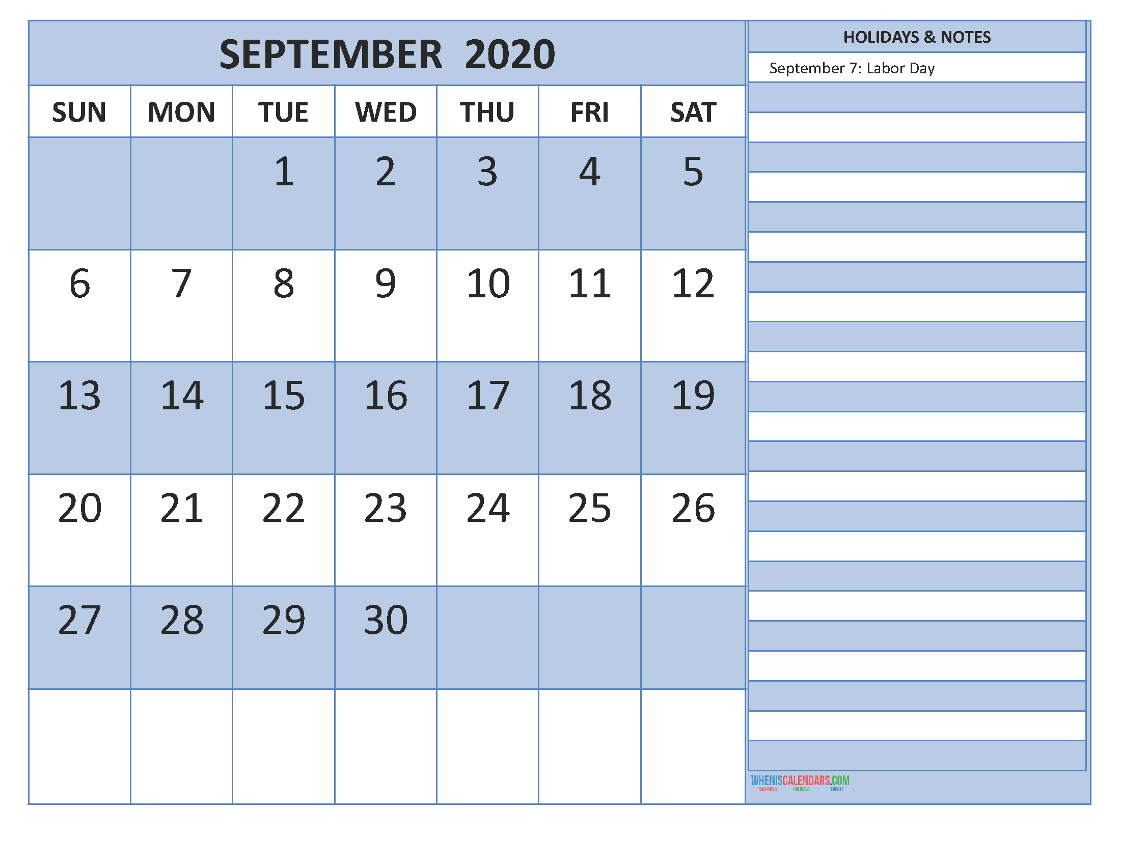 Free Monthly Printable Calendar 2020 September with Holidays