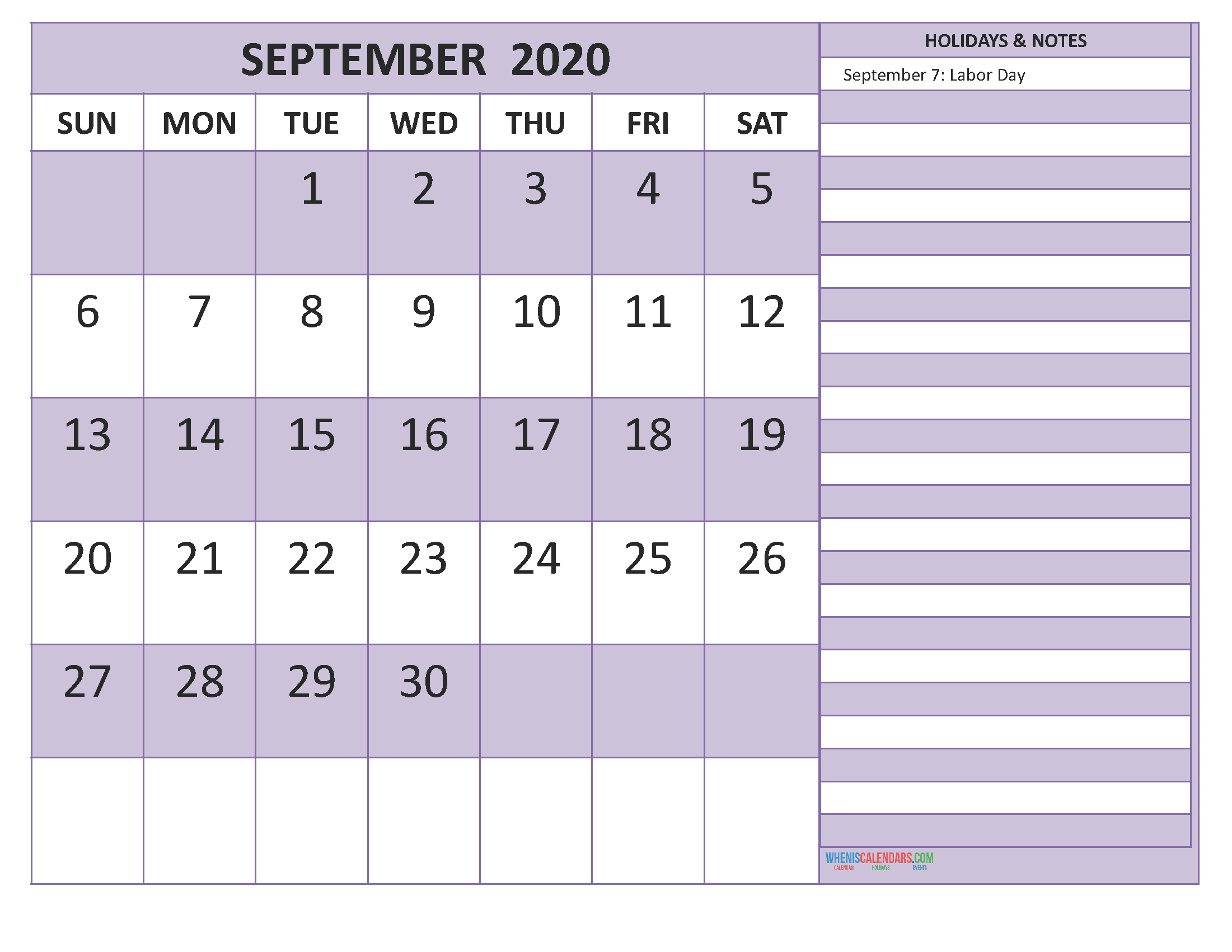 Free September 2020 Monthly Calendar Template Word