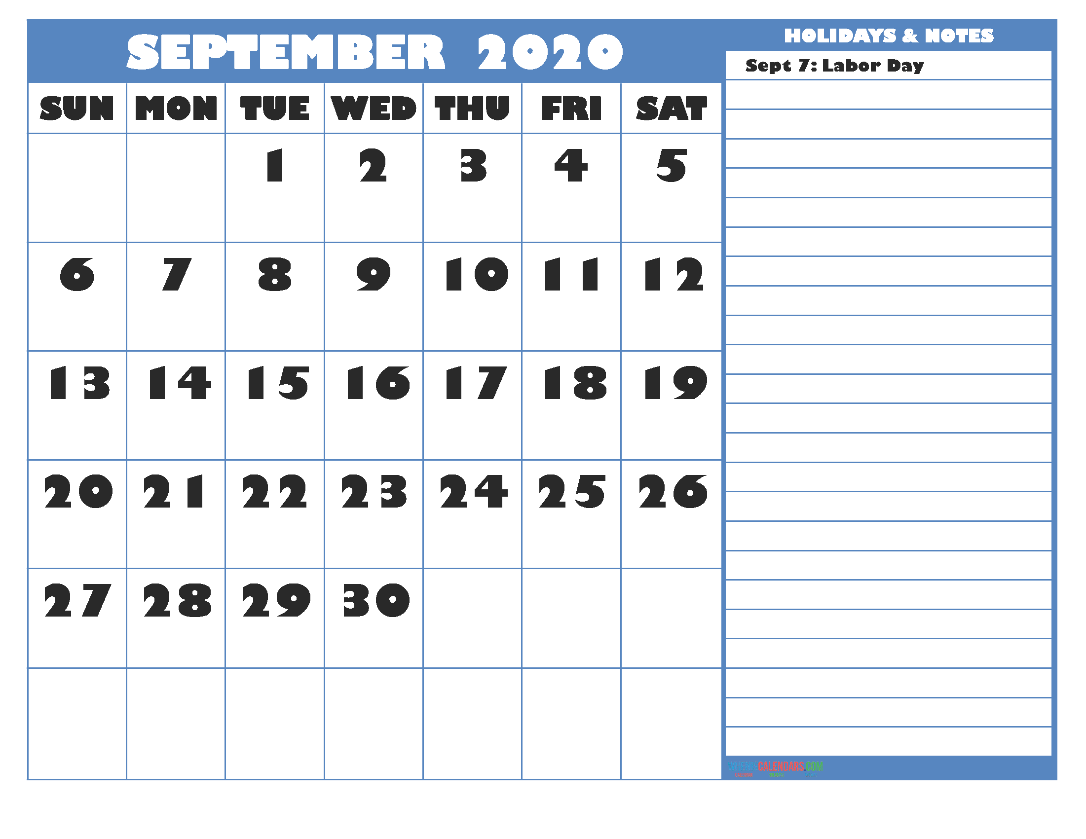 Free Printable Monthly 2020 Calendar with Holidays September