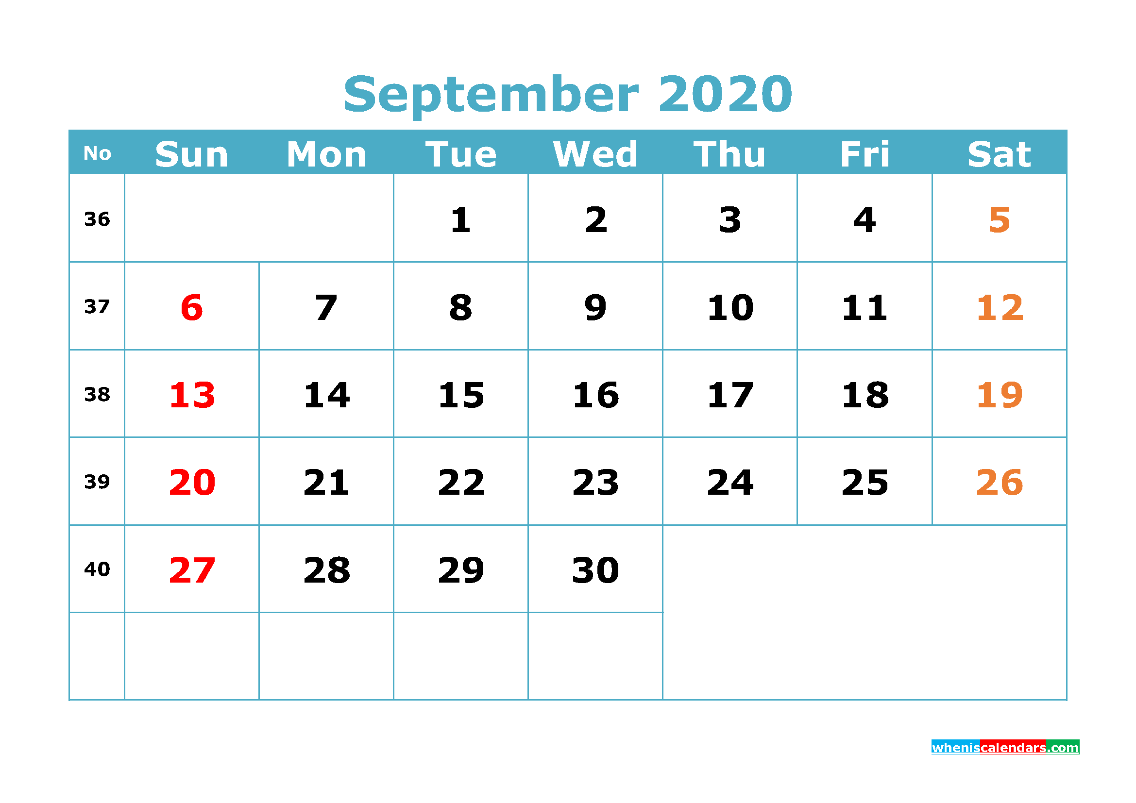 Free Printable September 2020 Calendar Template Word