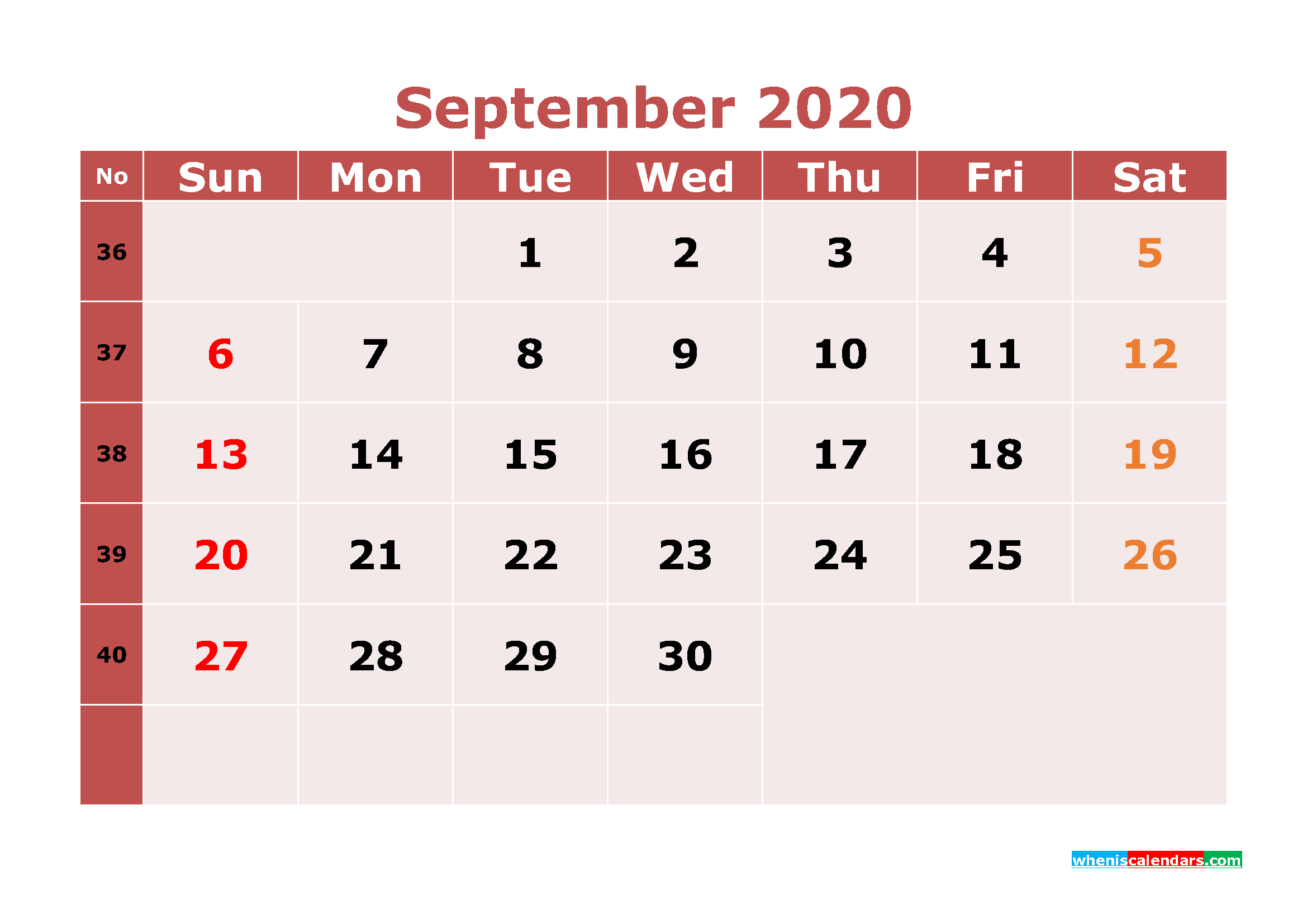 Free Printable September 2020 Calendar Word, PDF