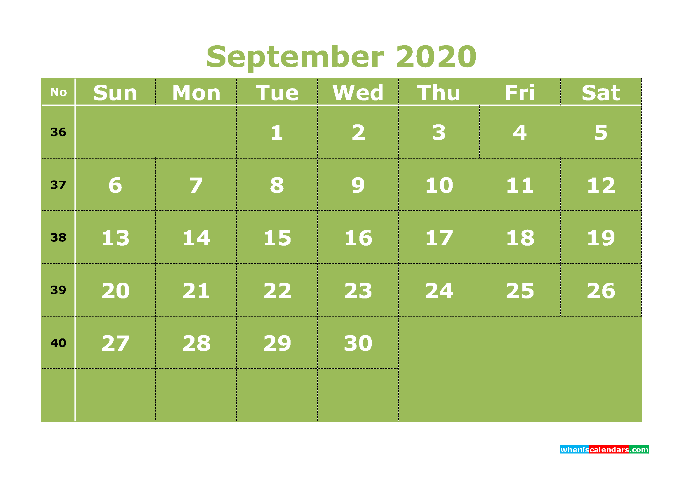 Free Printable September 2020 Calendar Templates