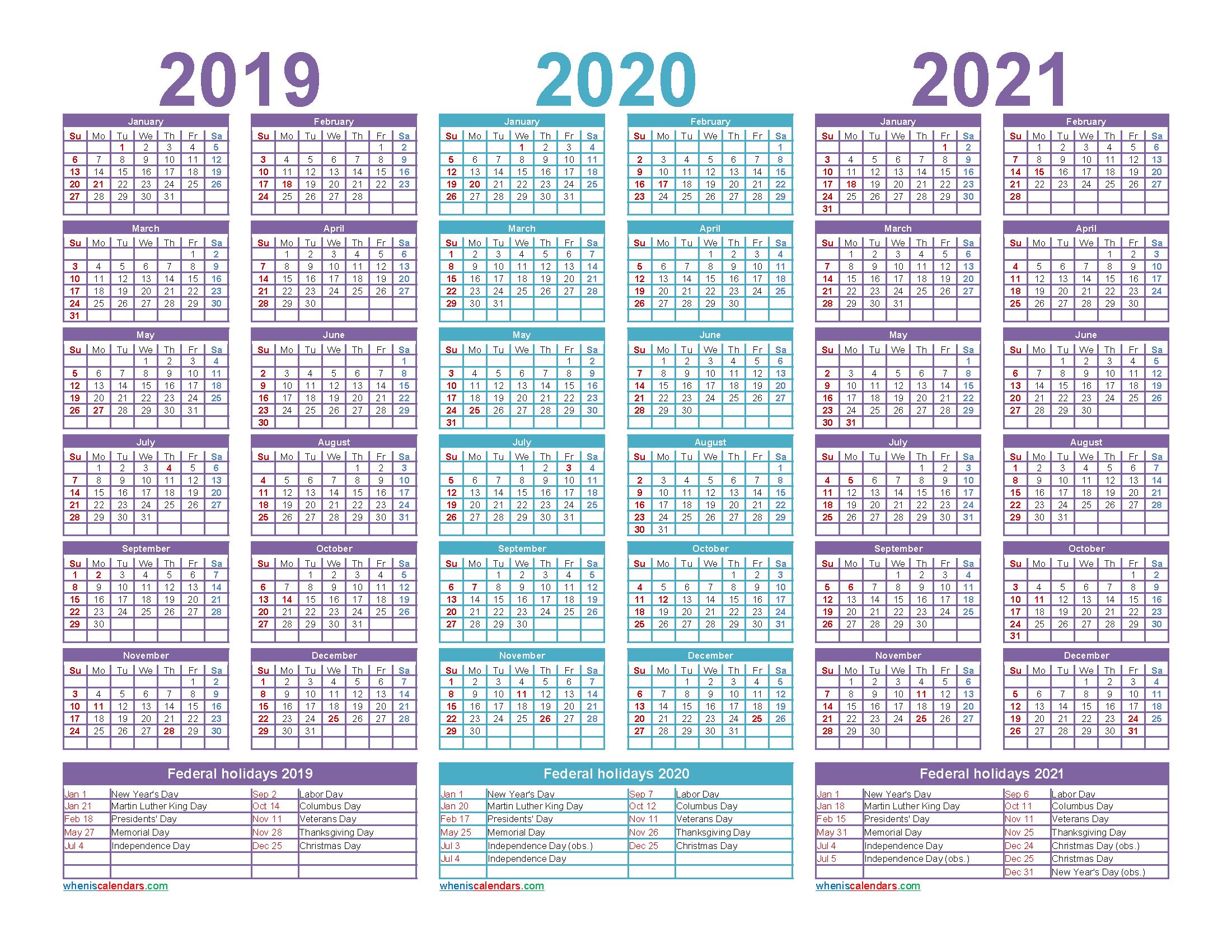 Three Year 2019 to 2021 Calendar Printable Word, PDF