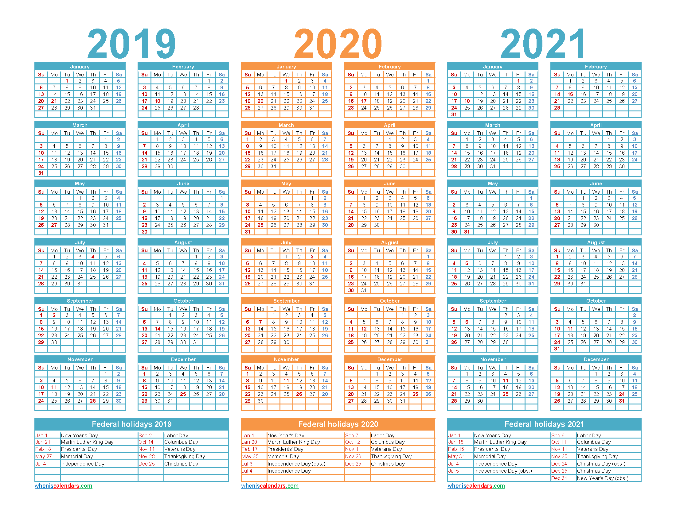 3 Year Planner 2019 to 2021 Calendar with Holidays Word
