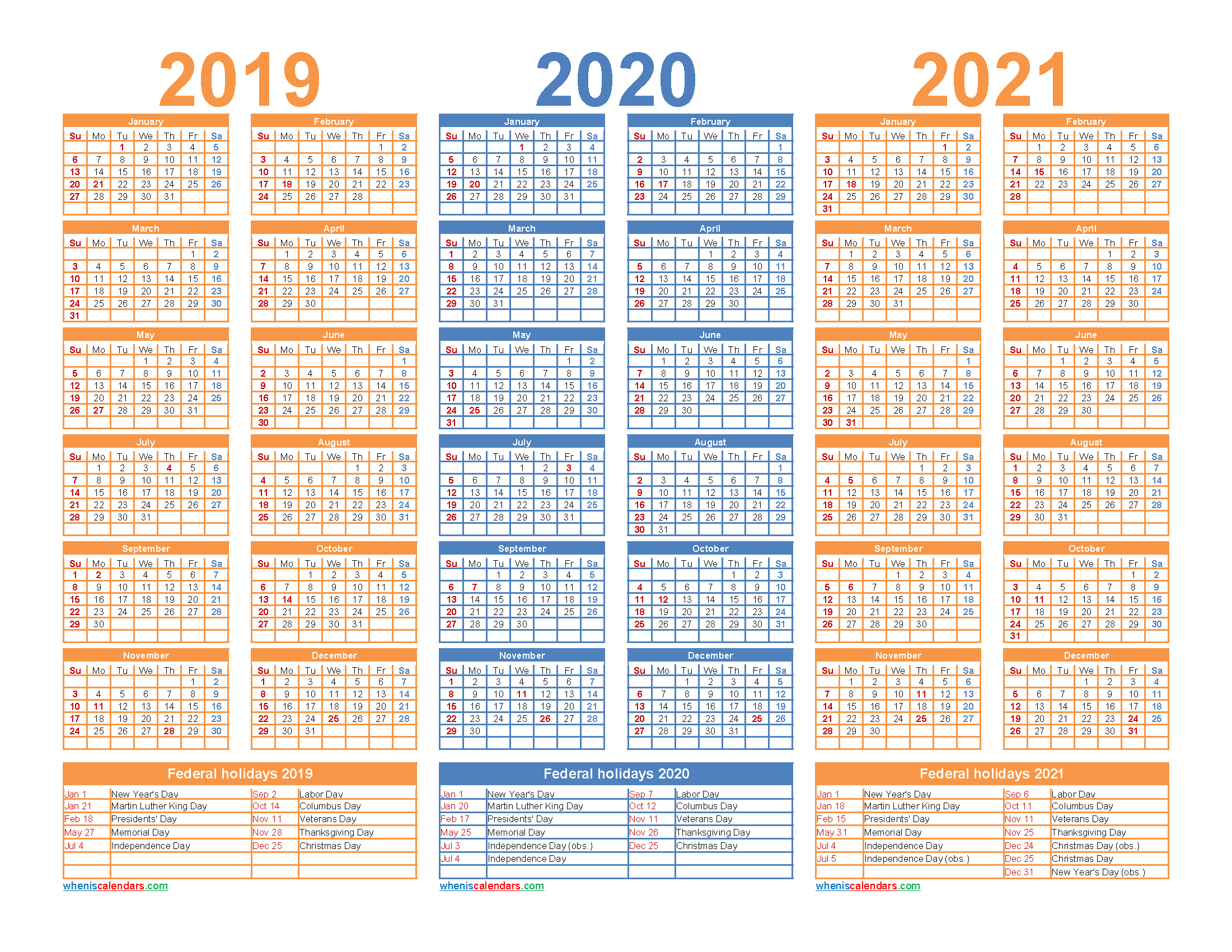 3 Year Calendar 2019 to 2021 Printable