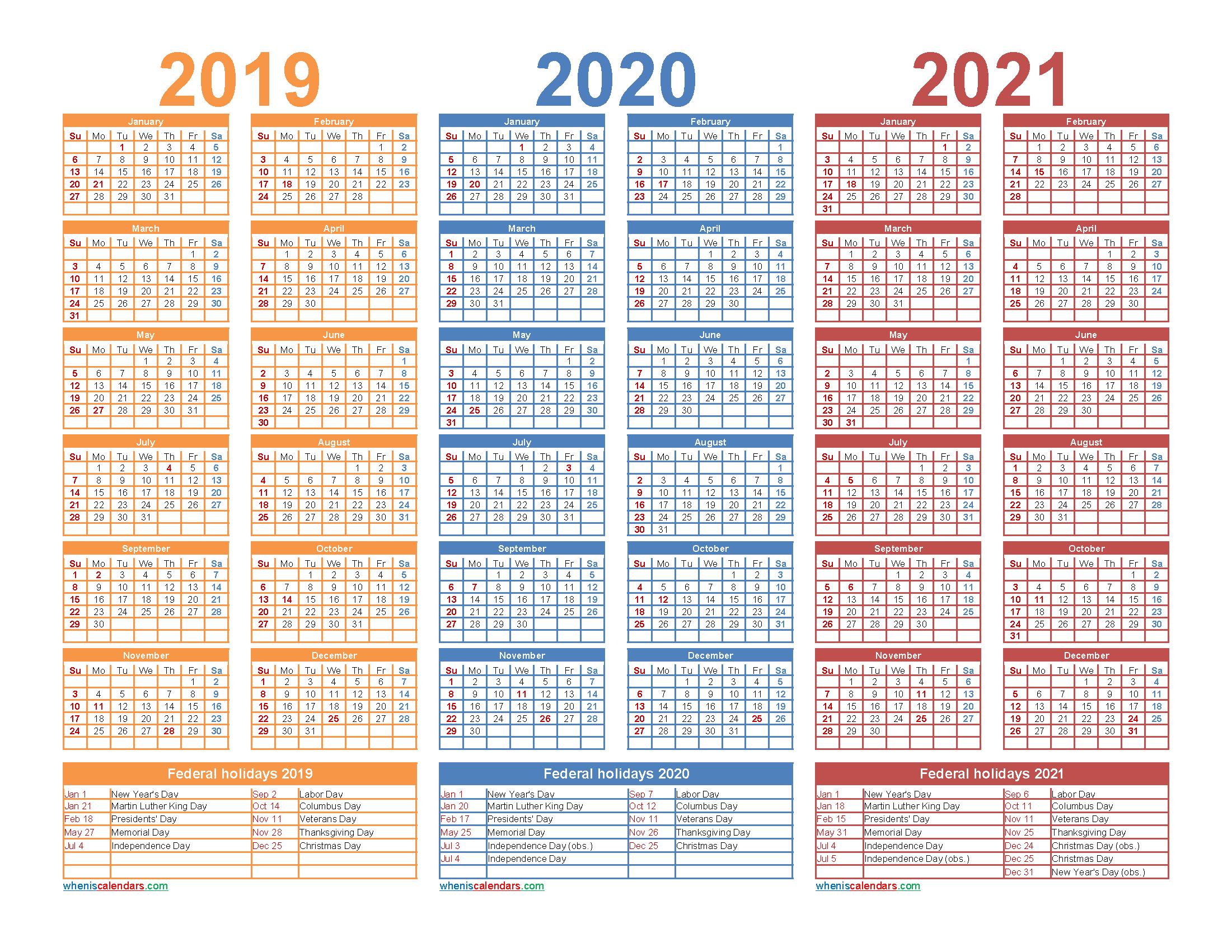 2019 2020 2021 Calendar with Holidays Printable Word