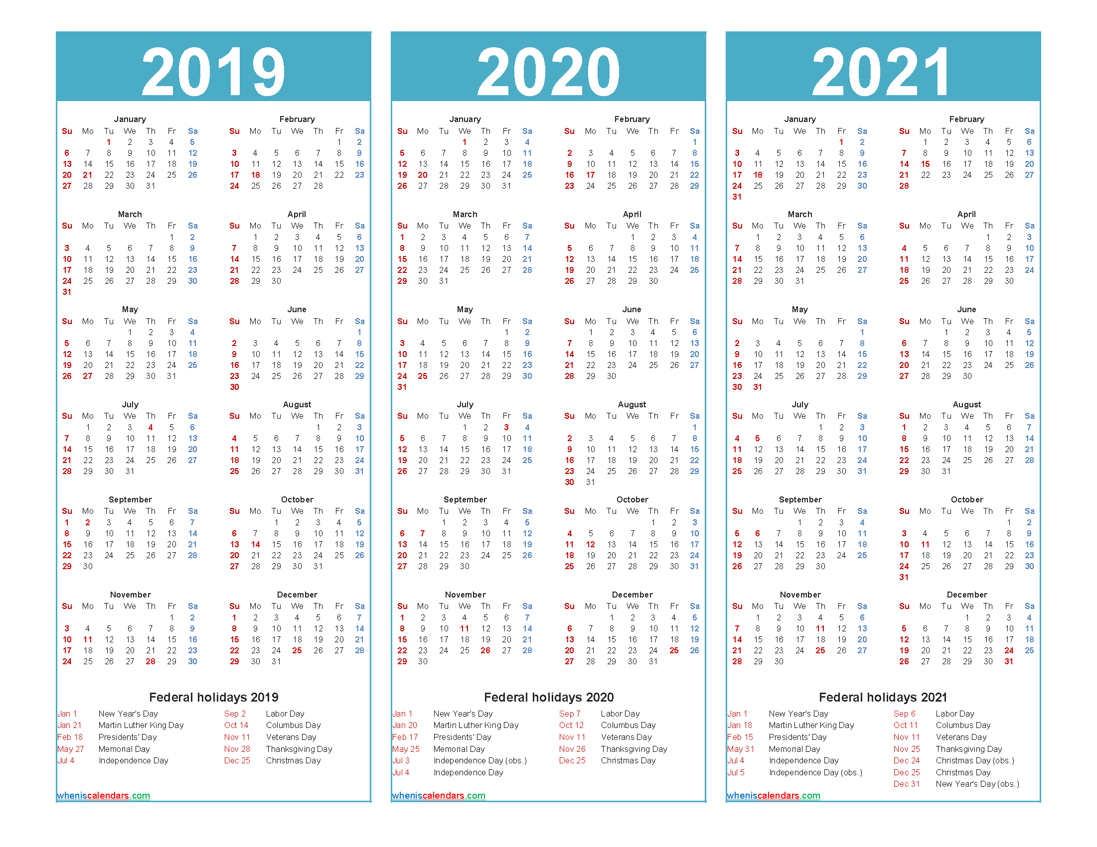 2019 and 2020 and 2021 Calendar with Holidays Word