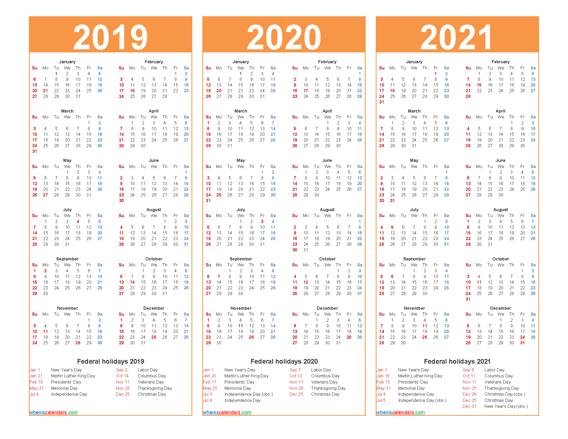 2019 2020 2021 Calendar with Holidays Printable Word