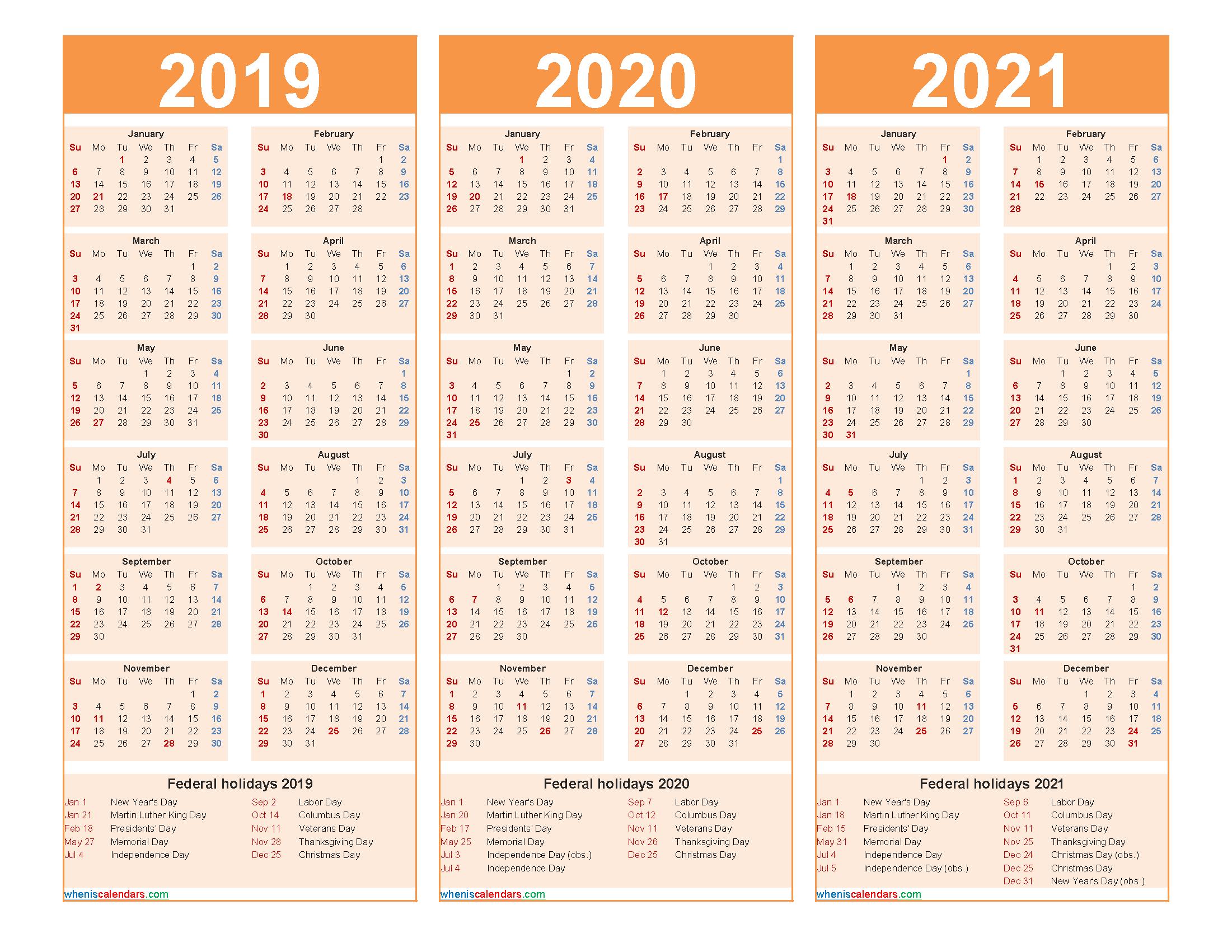 Printable Calendar 2019 2020 2021 with Holidays
